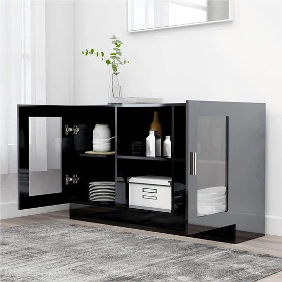 Sideboard High Gloss Black 120x30.5x70 cm Chipboard Free Postage