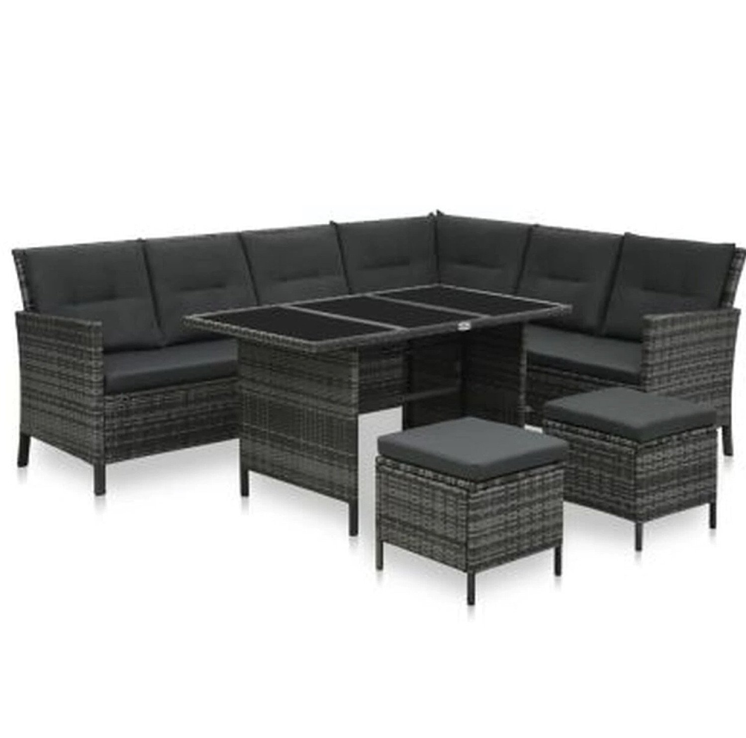 4 Piece Lounge Set Poly Rattan Grey - Grey Cushions - free delivery