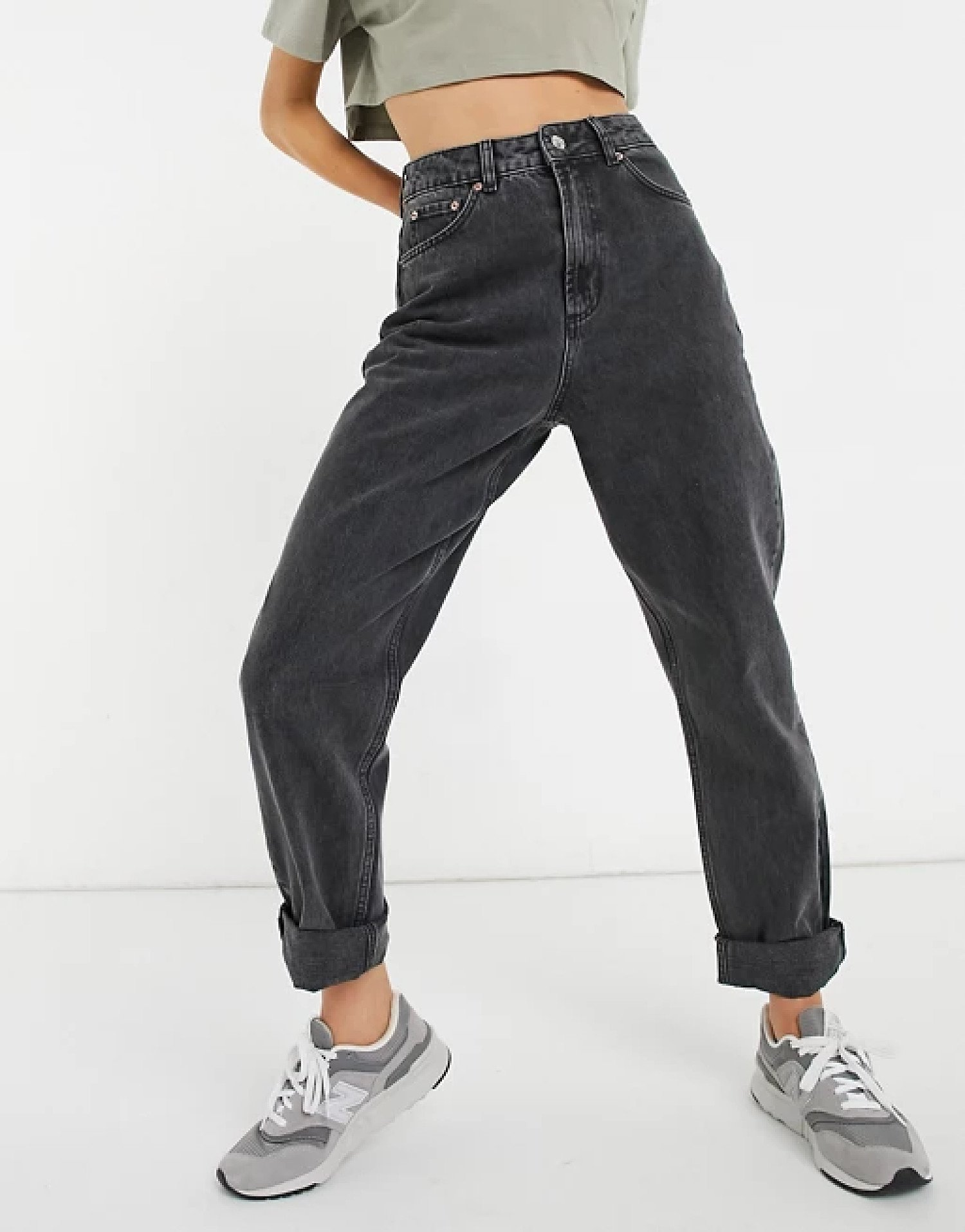 ASOS DESIGN high rise 'slouchy' mom jeans in washed black: £32.00!