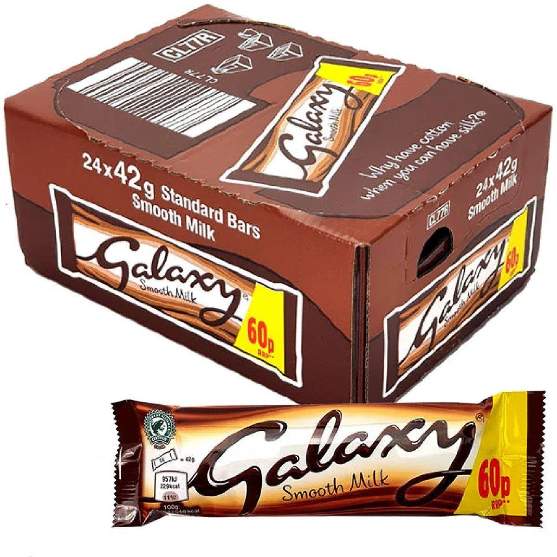 24 X GALAXY SMOOTH MILK 42G STANDARD CHOCOLATE BARS - Free Postage