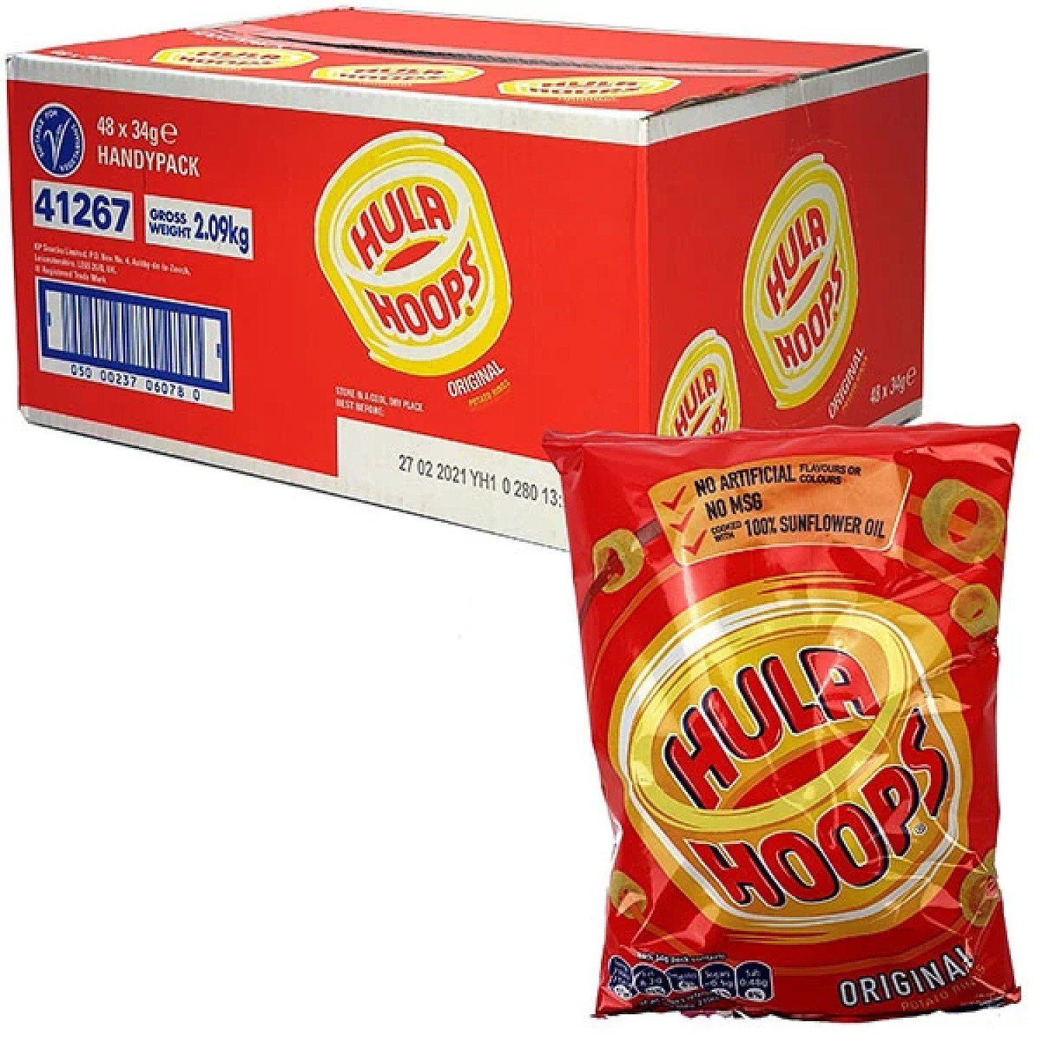 48 X HULA HOOPS ORIGINAL FLAVOUR POTATO RINGS 34G HANDY CRISP PACKS Free Postage