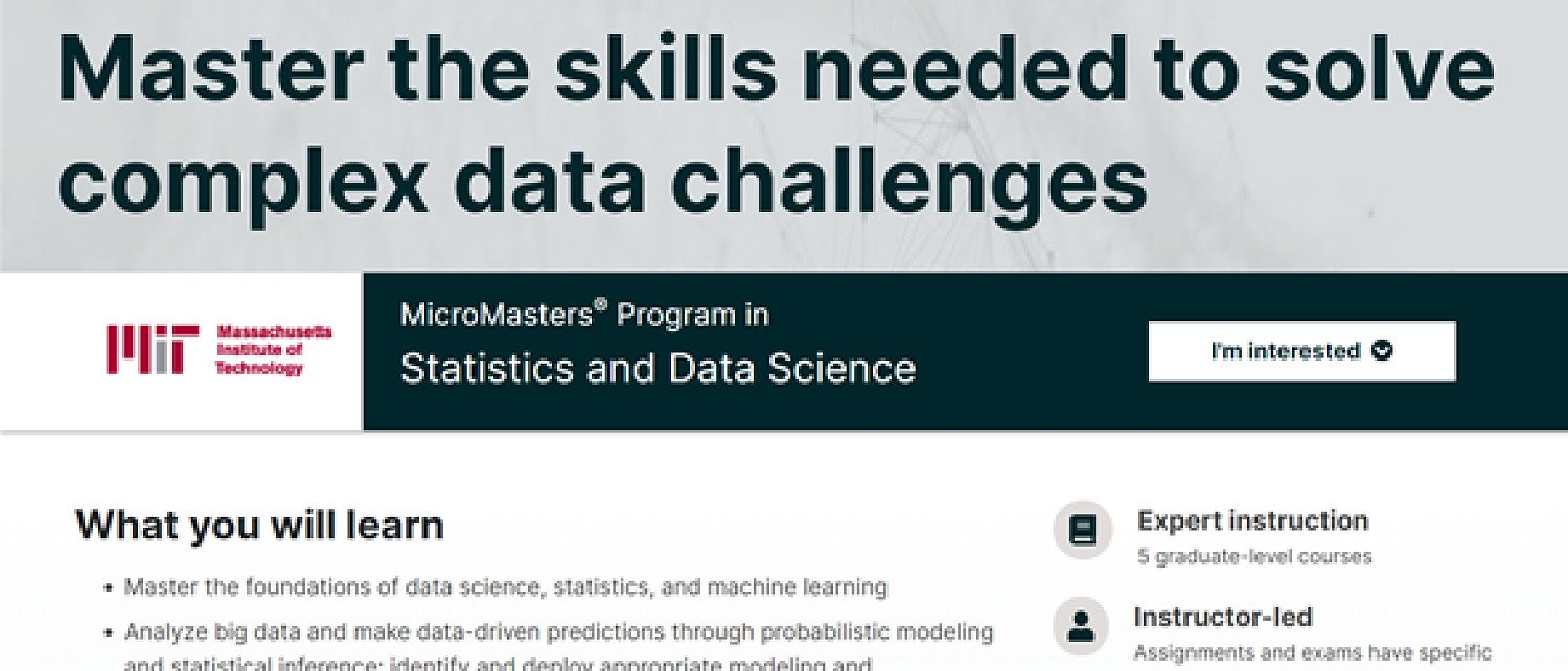 Learn Online with MITx Statistics and Data Science Course