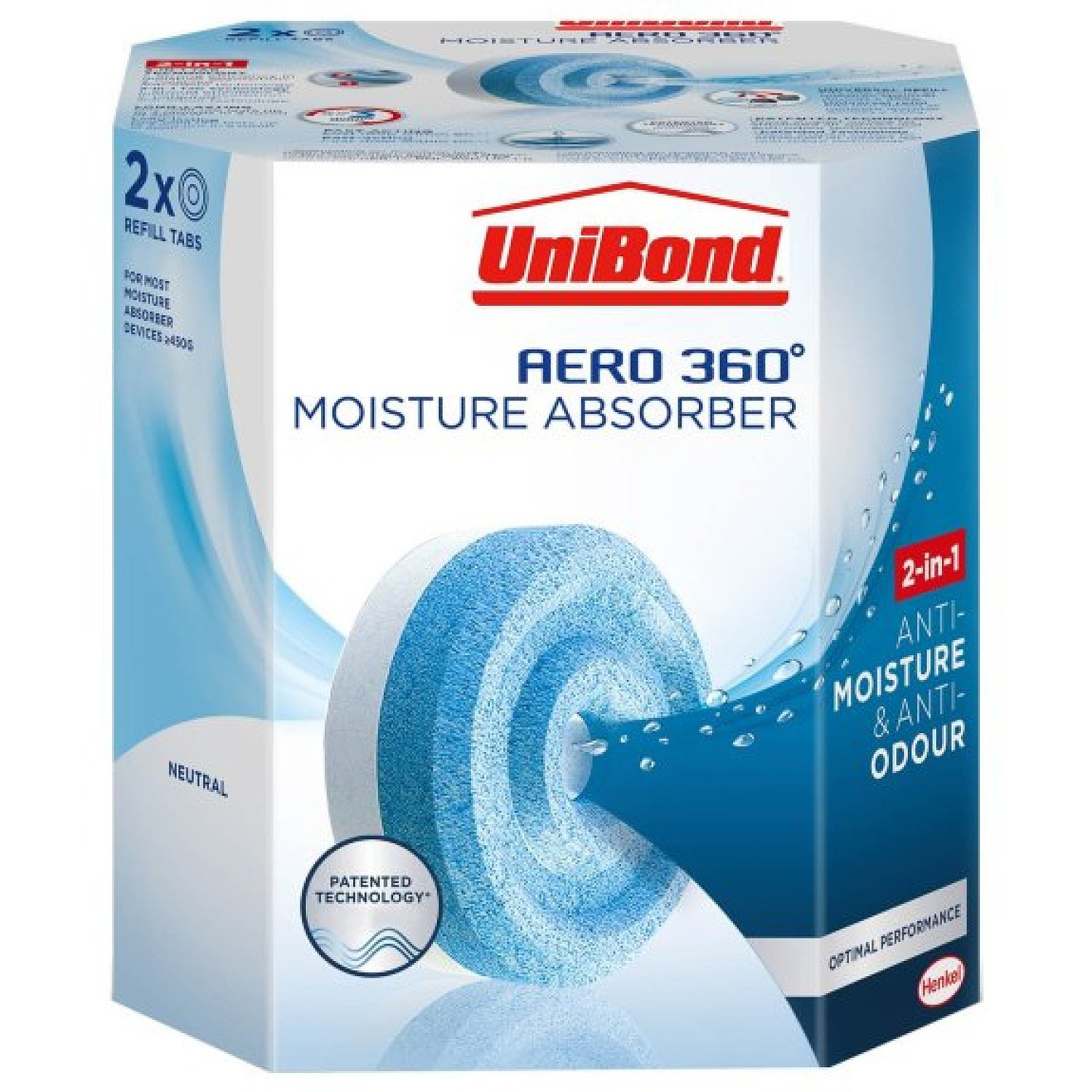 WE'RE OPEN, COME IN STORE - UniBond Aero 360 Moisture Absorber Refills 2 x 450g £5.49!