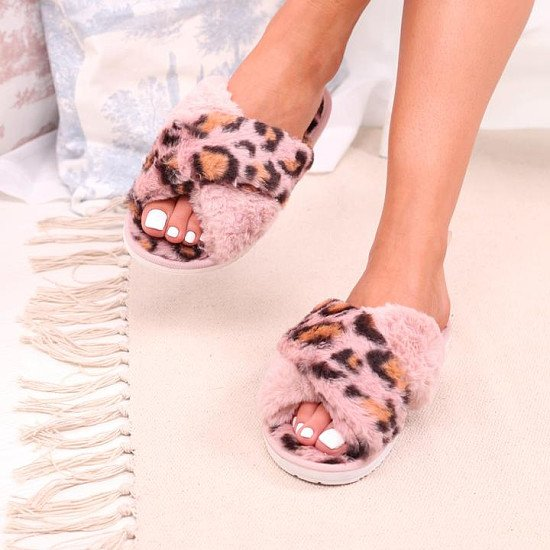 Pink Leopard Print Fluffy Crossover Slippers
