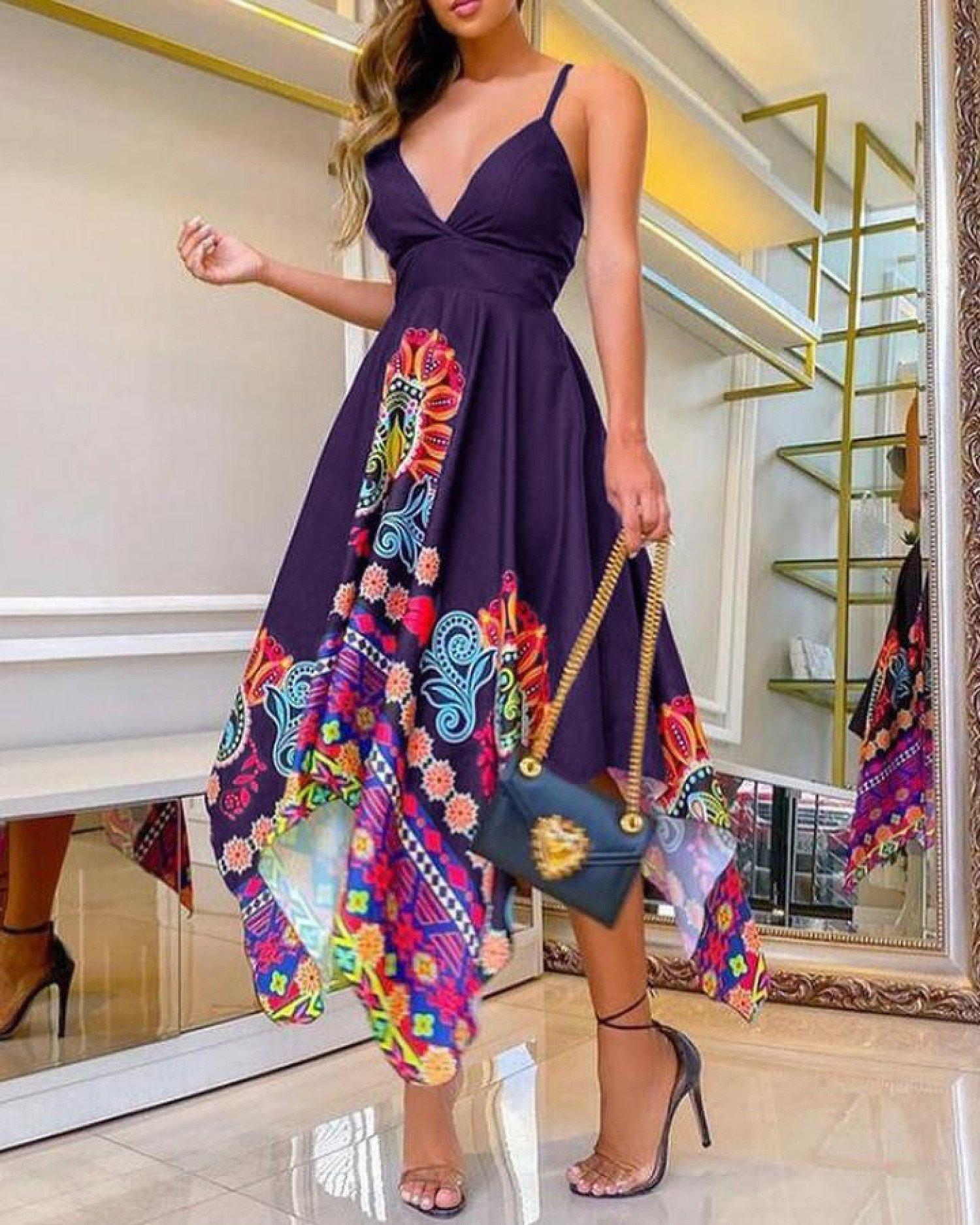Floral Print Plunge Cami Asymmetrical Dress Free Postage