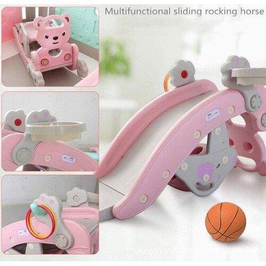 Pink 3 in 1 Slide Basketball Hoop Toddler Slide Rocking Horse
