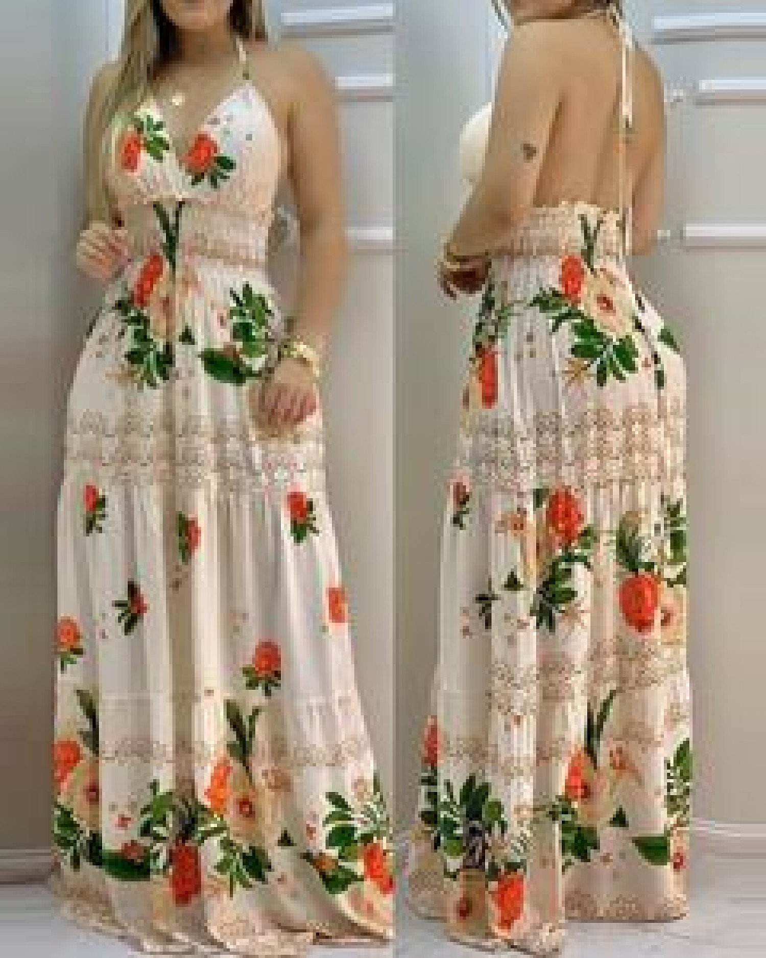 Halter Backless Floral Print Shirring Maxi Dress Free Postage