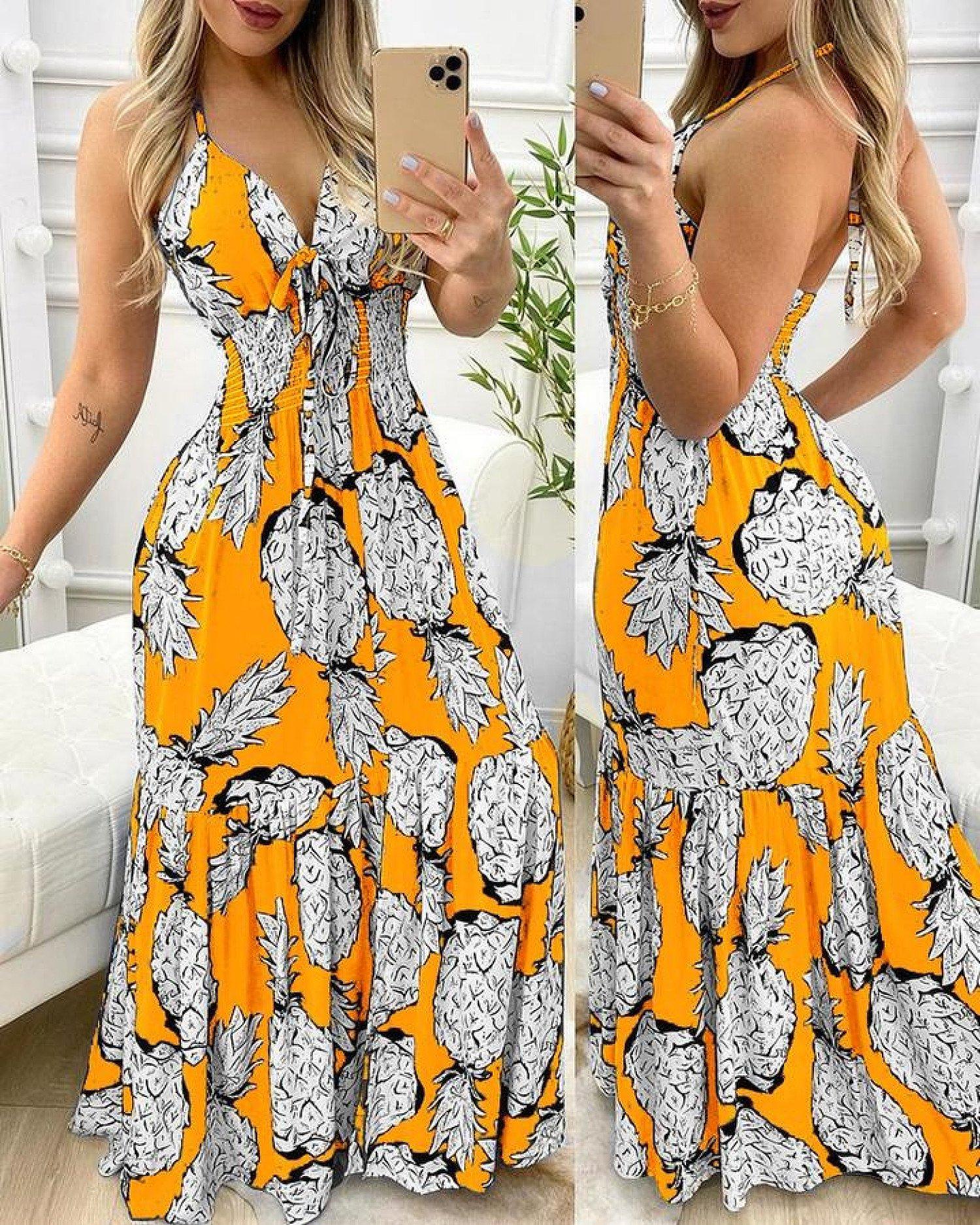 Pineapple Print Halter Ruffle Hem Maxi Dress-Yellow Free Postage