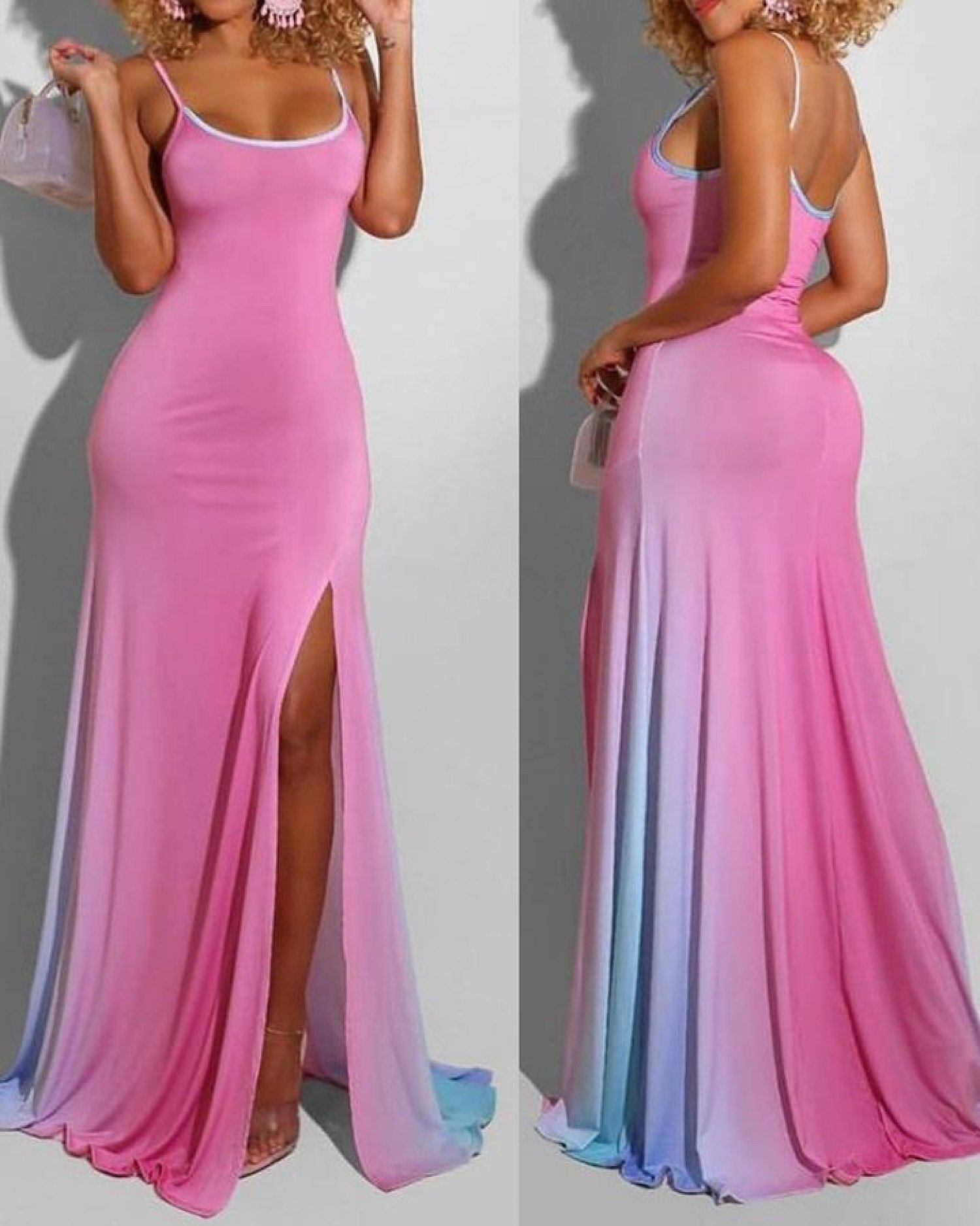 Ombre High Slit Maxi Dress Free Postage