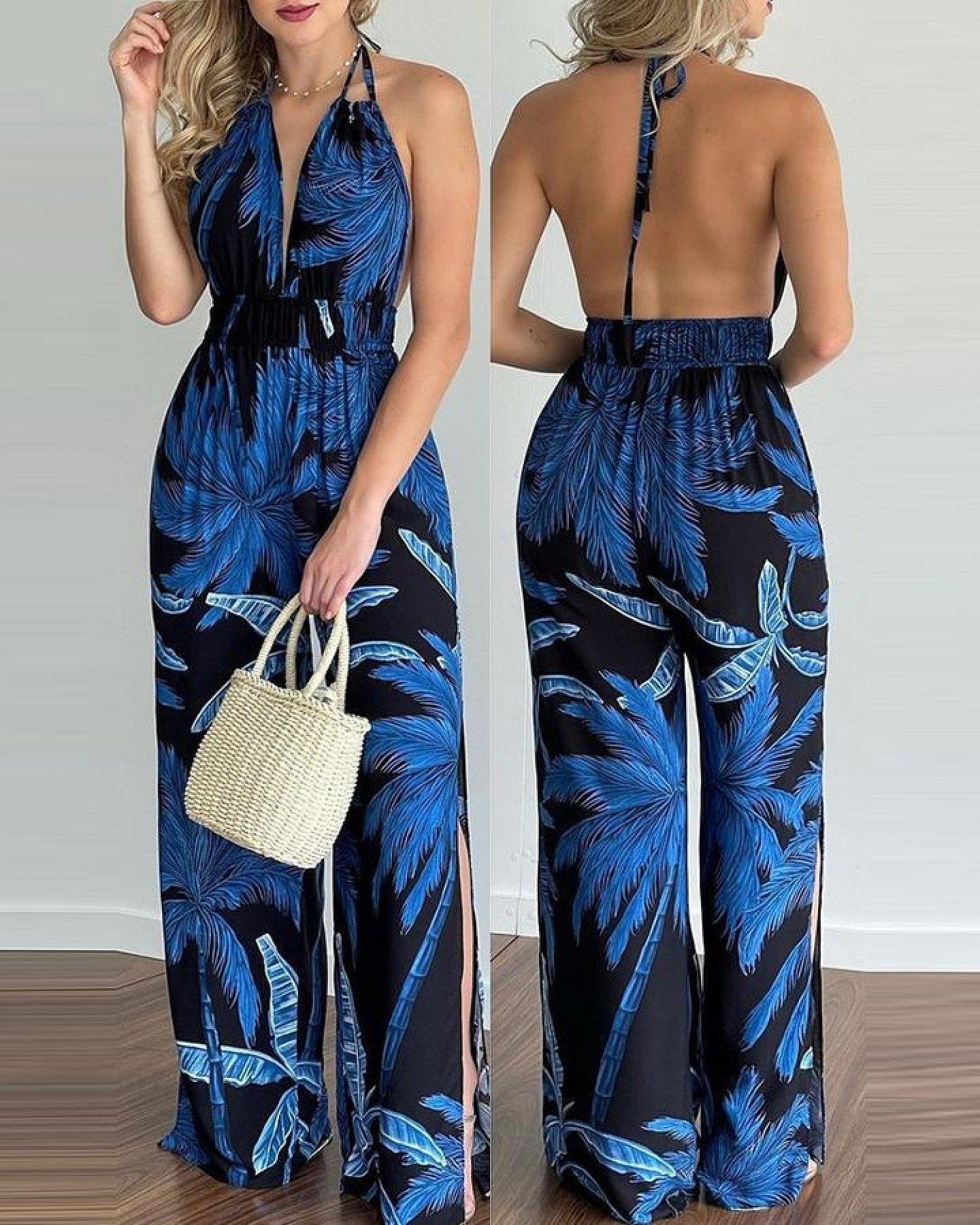 Tropical Print Halter V Neck Jumpsuit-Blue Free Postage