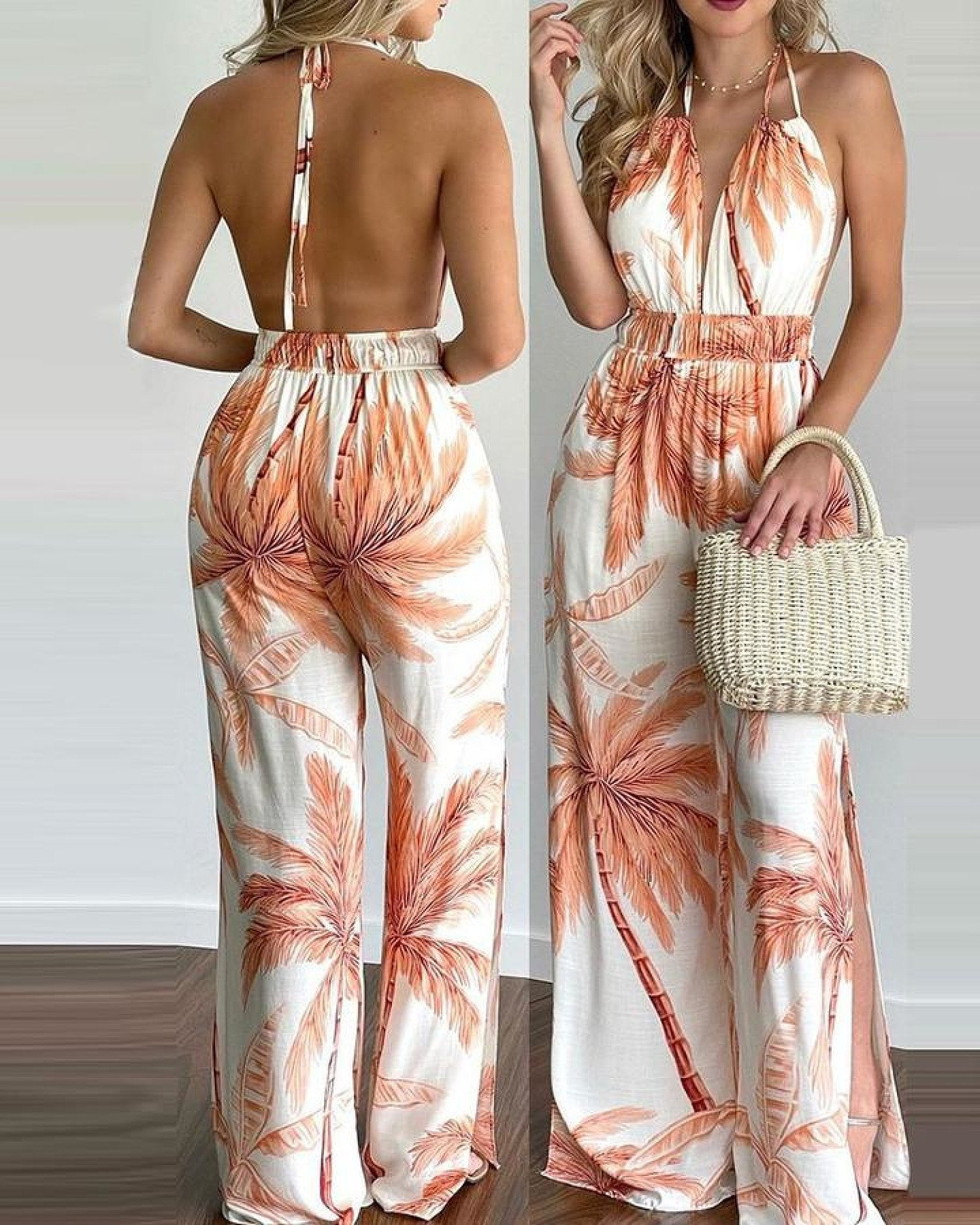 Tropical Print Halter V Neck Jumpsuit-Orange Free Postage
