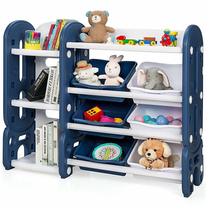 Kid's Toy Storage Organiser Children Toddlers Bookcase Blue