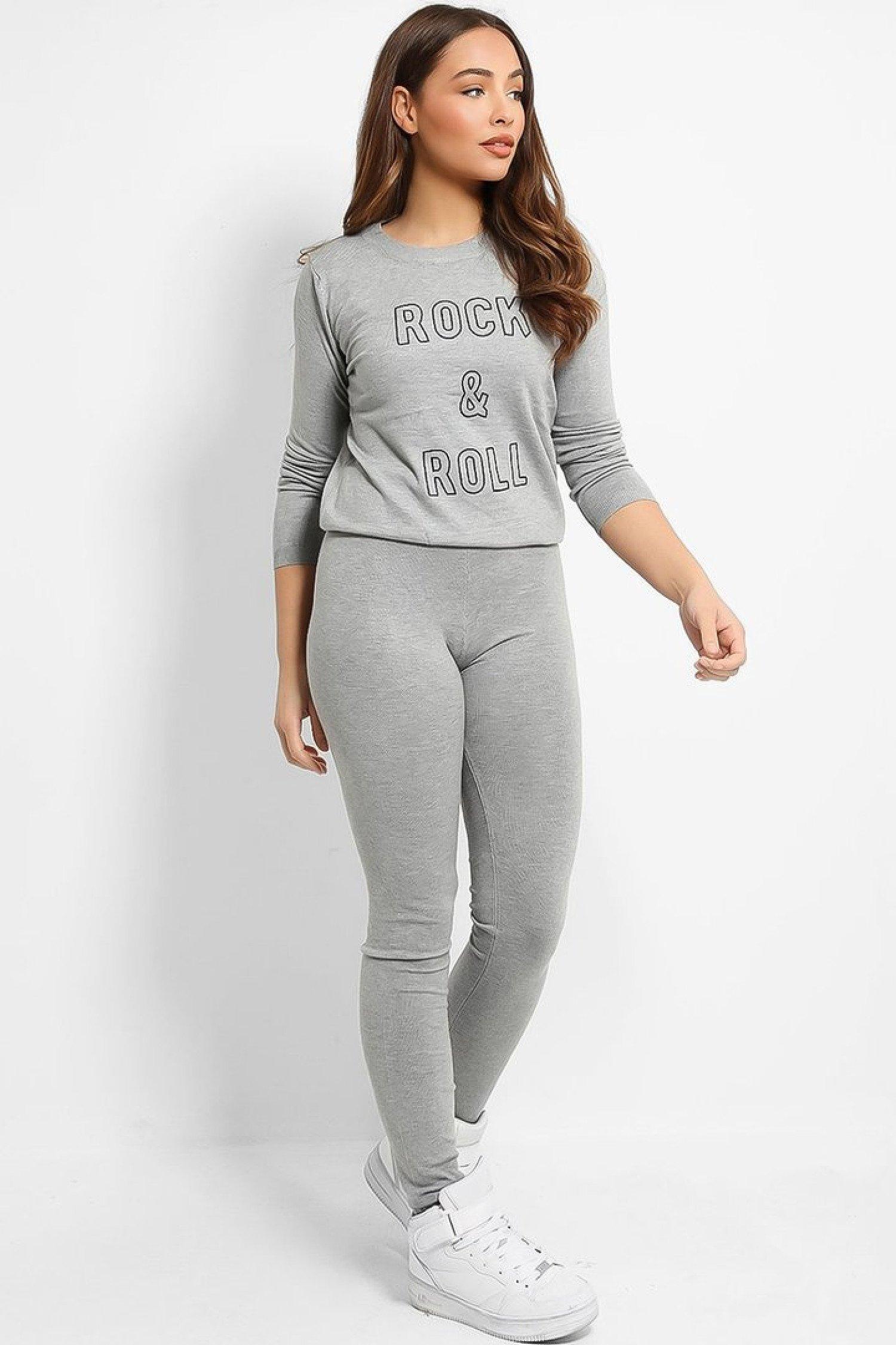 Grey Slogan Tracksuit One Size 8-14 Free Postage