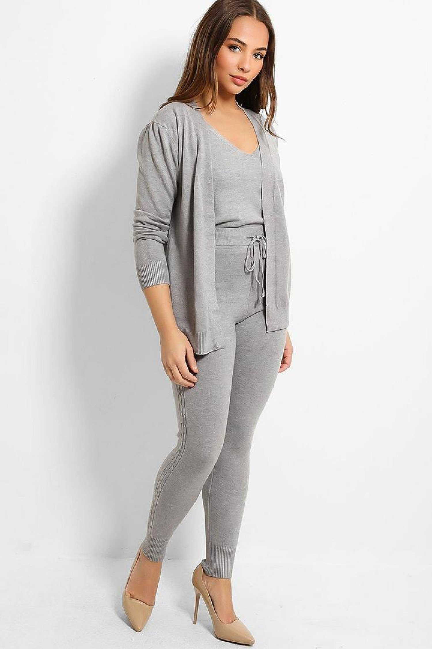Grey Knitted 3 Piece Cosy Lounge Set Free Postage
