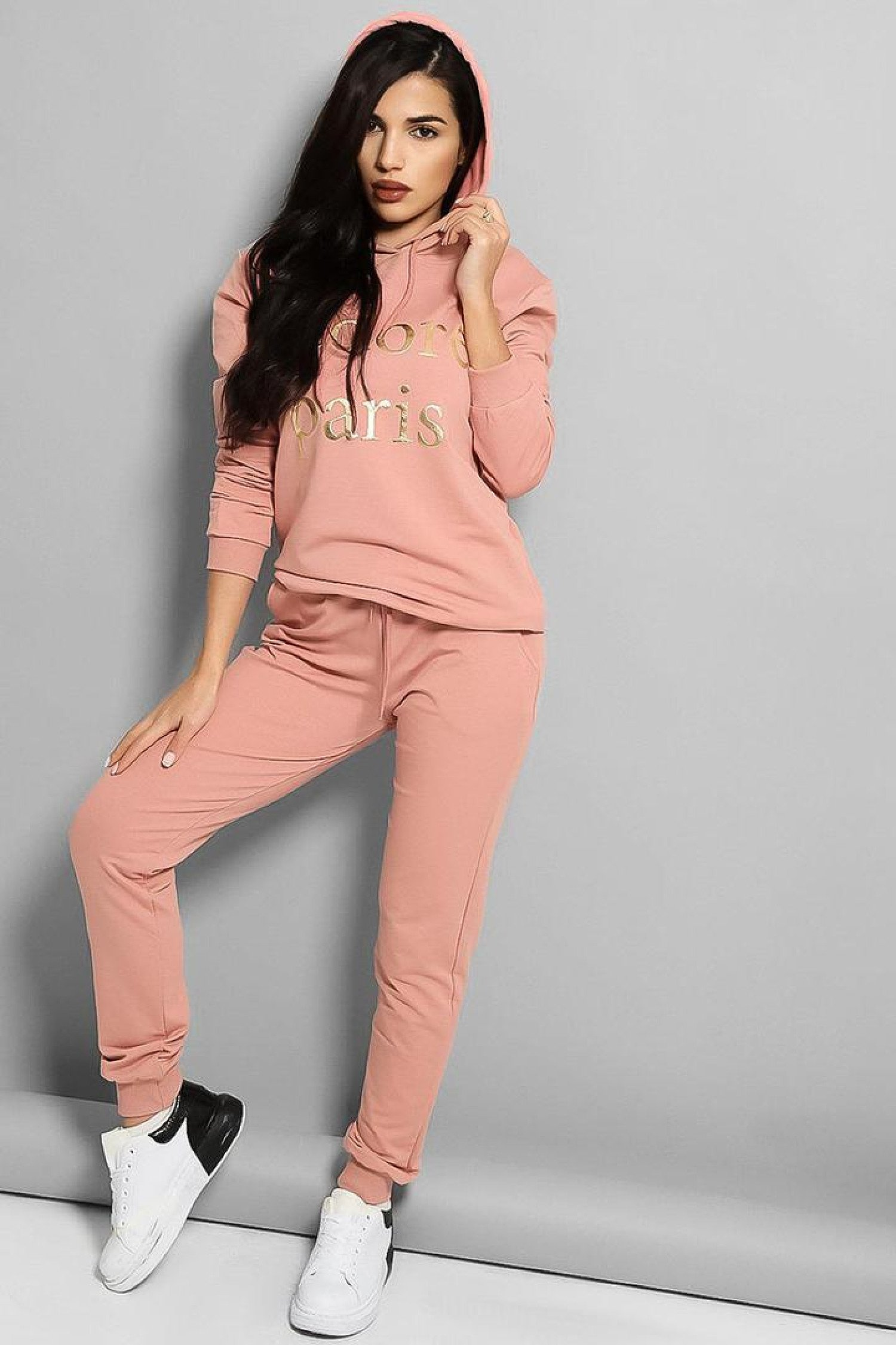 PINK GOLD SLOGAN HOODED COTTON BLEND TRACKSUIT Plus Sizes Free Postage