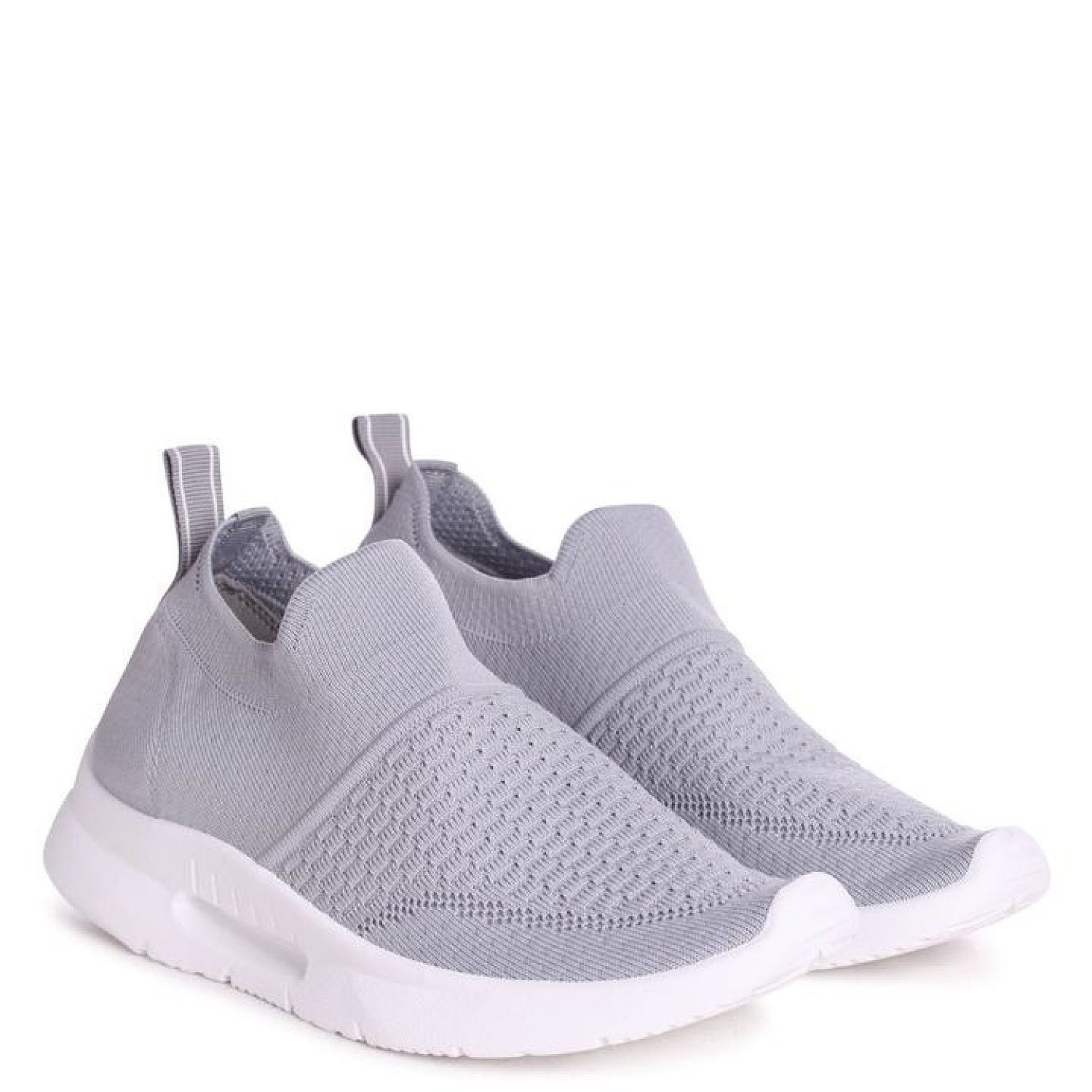 Grey Sock Trainer With White Rubber Sole Ladies Free
