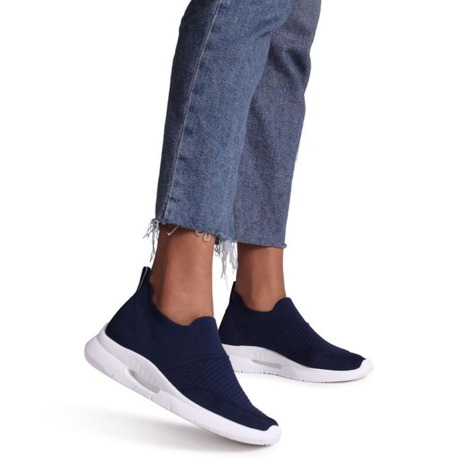 Navy Sock Trainer With White Rubber Sole Ladies Free Postage