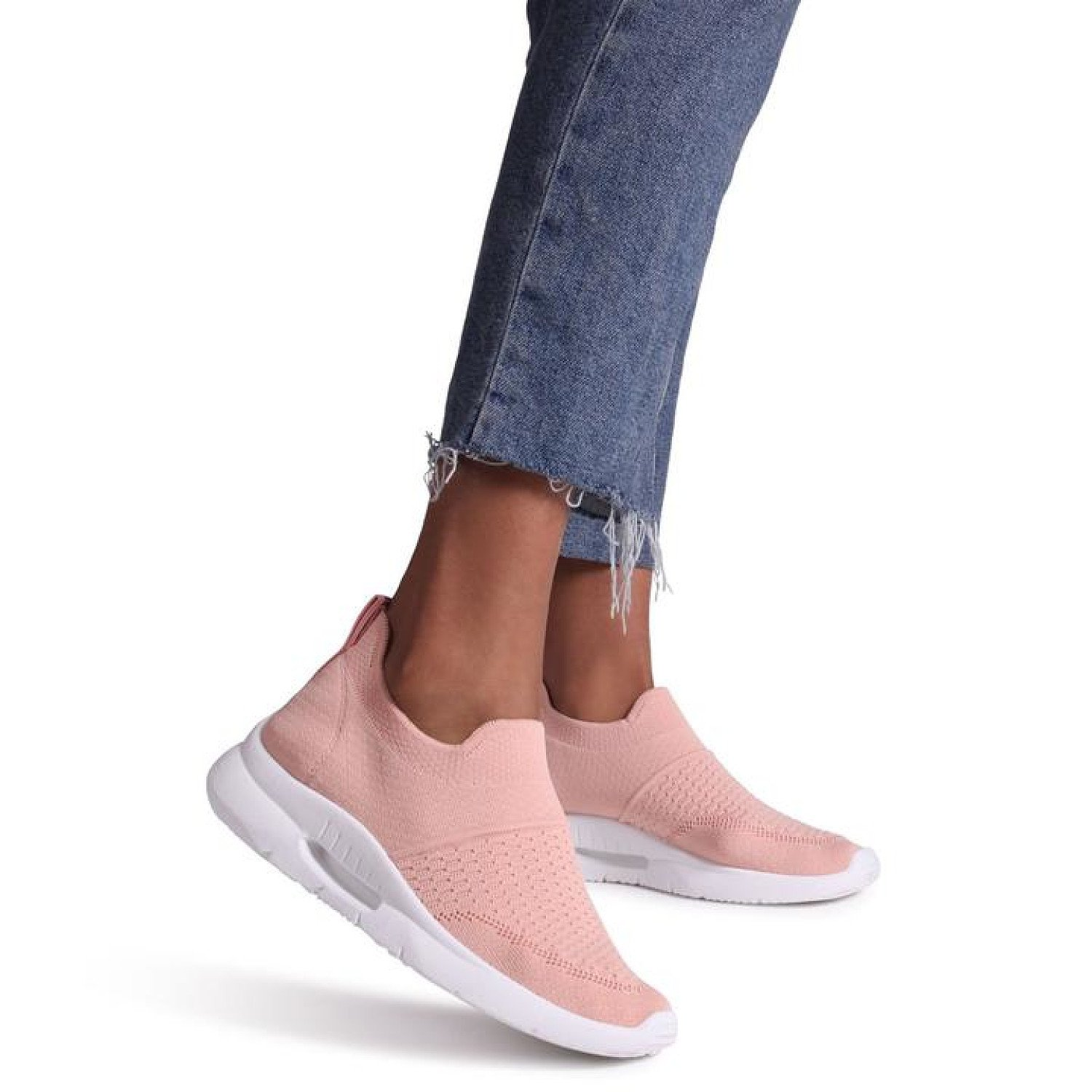 Pink Sock Trainer With White Rubber Sole Ladies Free Postage