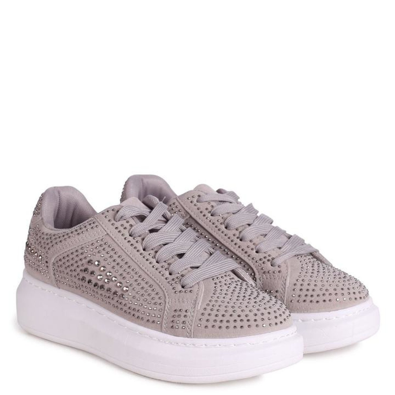 Grey Platform Trainer With All Over Diamante Detail Ladies Free Postage