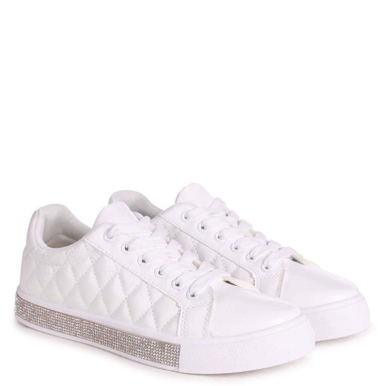 White Nappa Quilted Trainer With Diamante Trim Ladies Free Postage