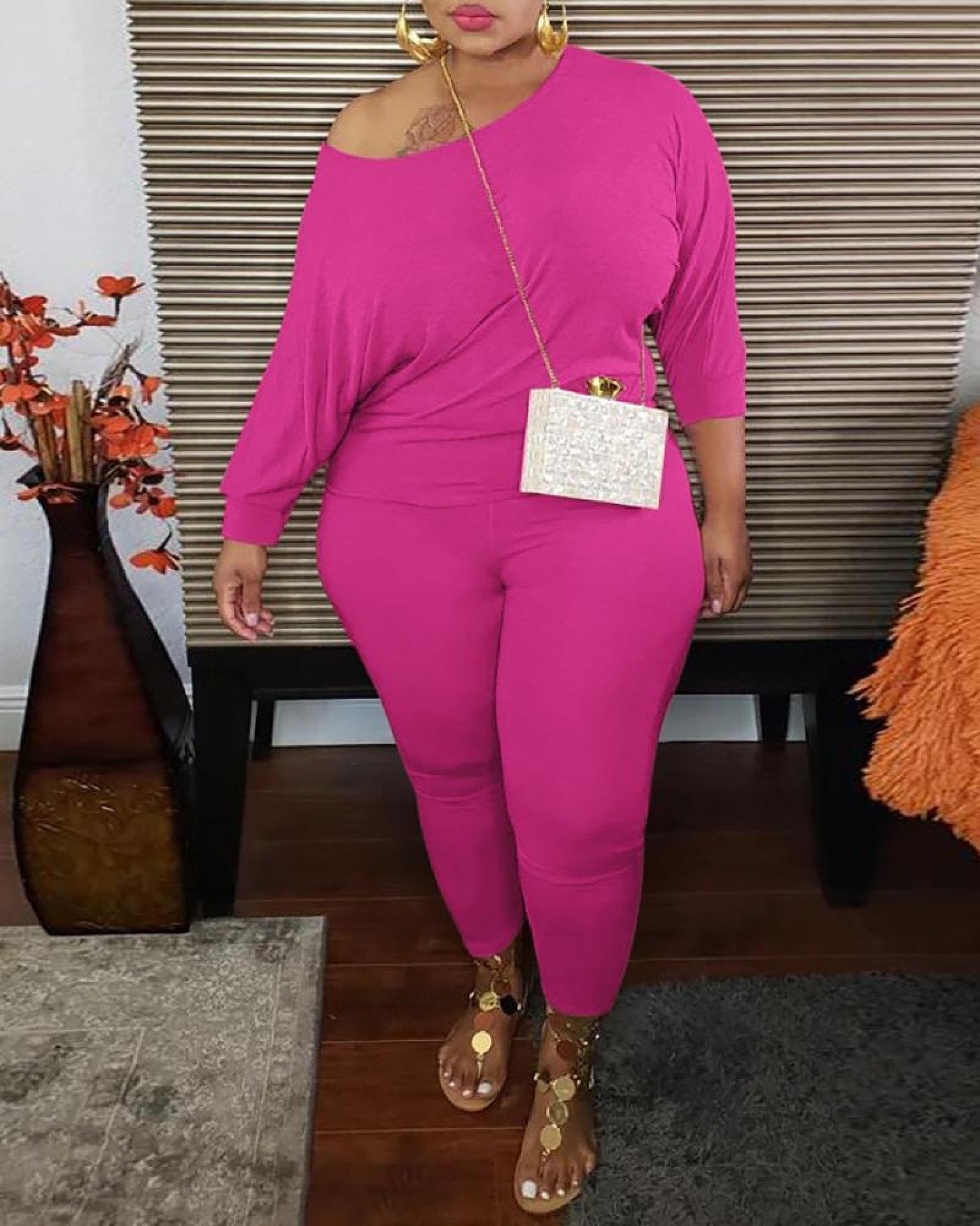 Plus Size Long Sleeve Casual Top & Pants Set-Hot Pink