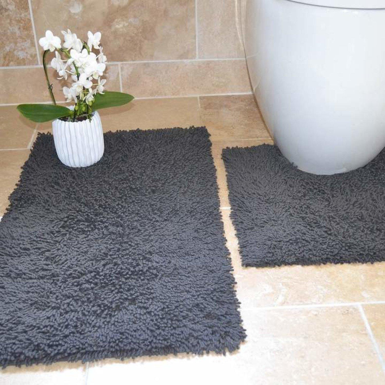 Tumble Twist Grey 100% Cotton 2 Piece Pedestal & Bath Mat Set Free Postage