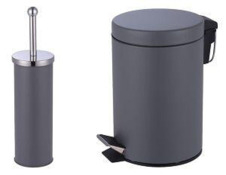 3L Pedal Bin+toilet Brush Holder stainless Steel Matt Finish - Grey Free Postage