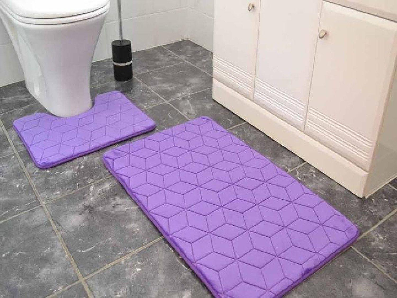 Purple Cubes Memory Foam Bath & Pedestal Mat Free Postage