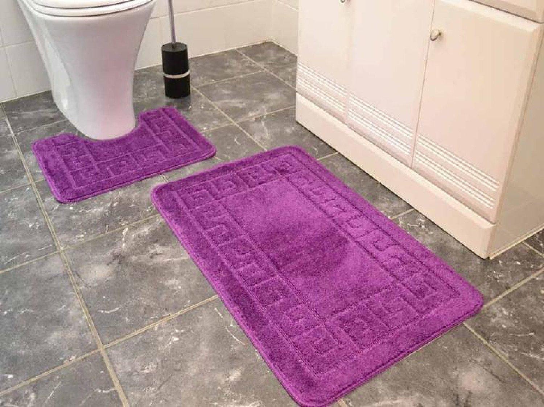 New Purple Greek Key Bath Mat Set Free Postage