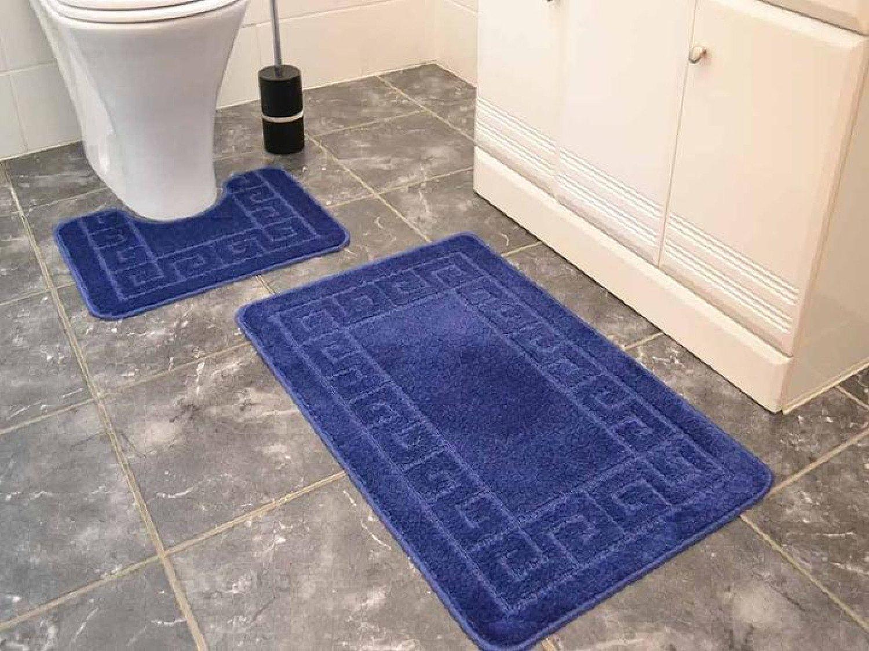Navy Blue Greek Key Bath Mat Set Free Postage