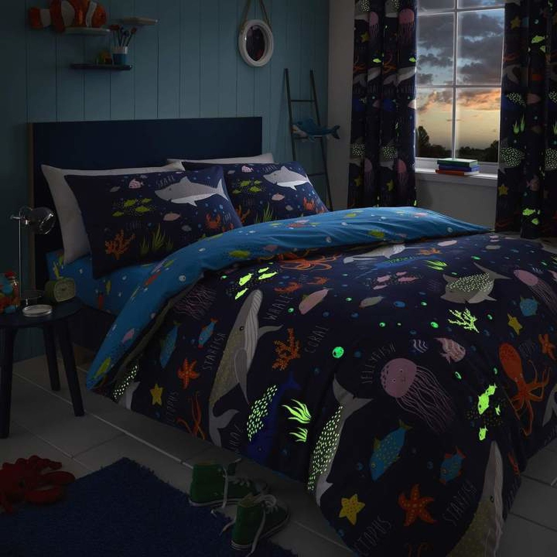 Sea Life Glow in the Dark Blue Kids Duvet Cover Set Free Postage