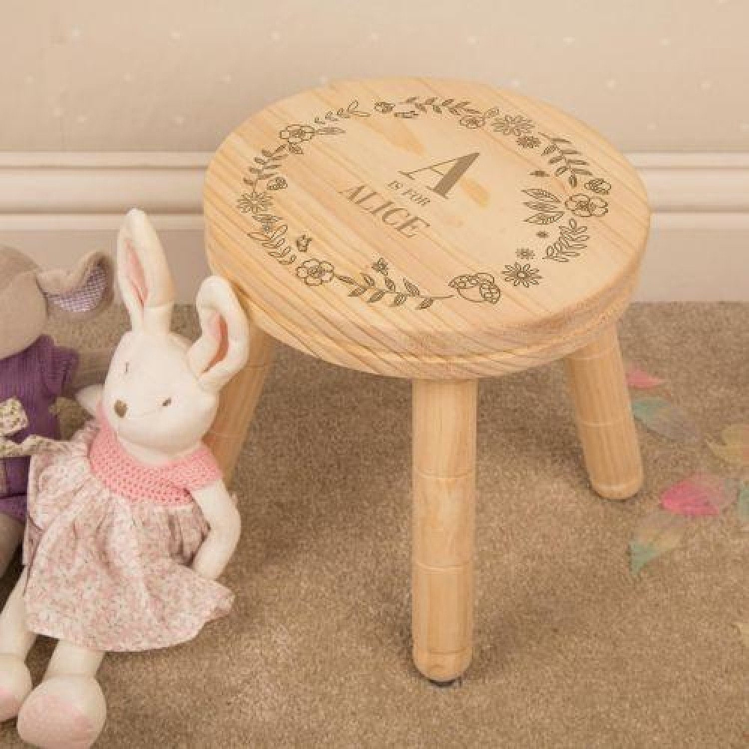 Personalised Engraved Girl Alphabet Wooden Stool. Free Postage