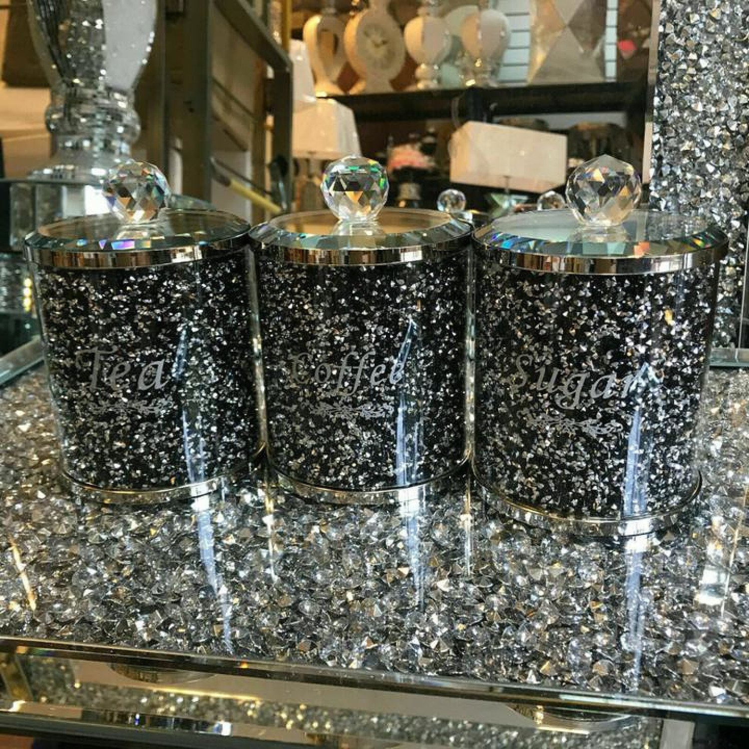 (Silver Black / Silver Writing) Crushed Diamond Tea Coffee Sugar CANISTERS Free Postage