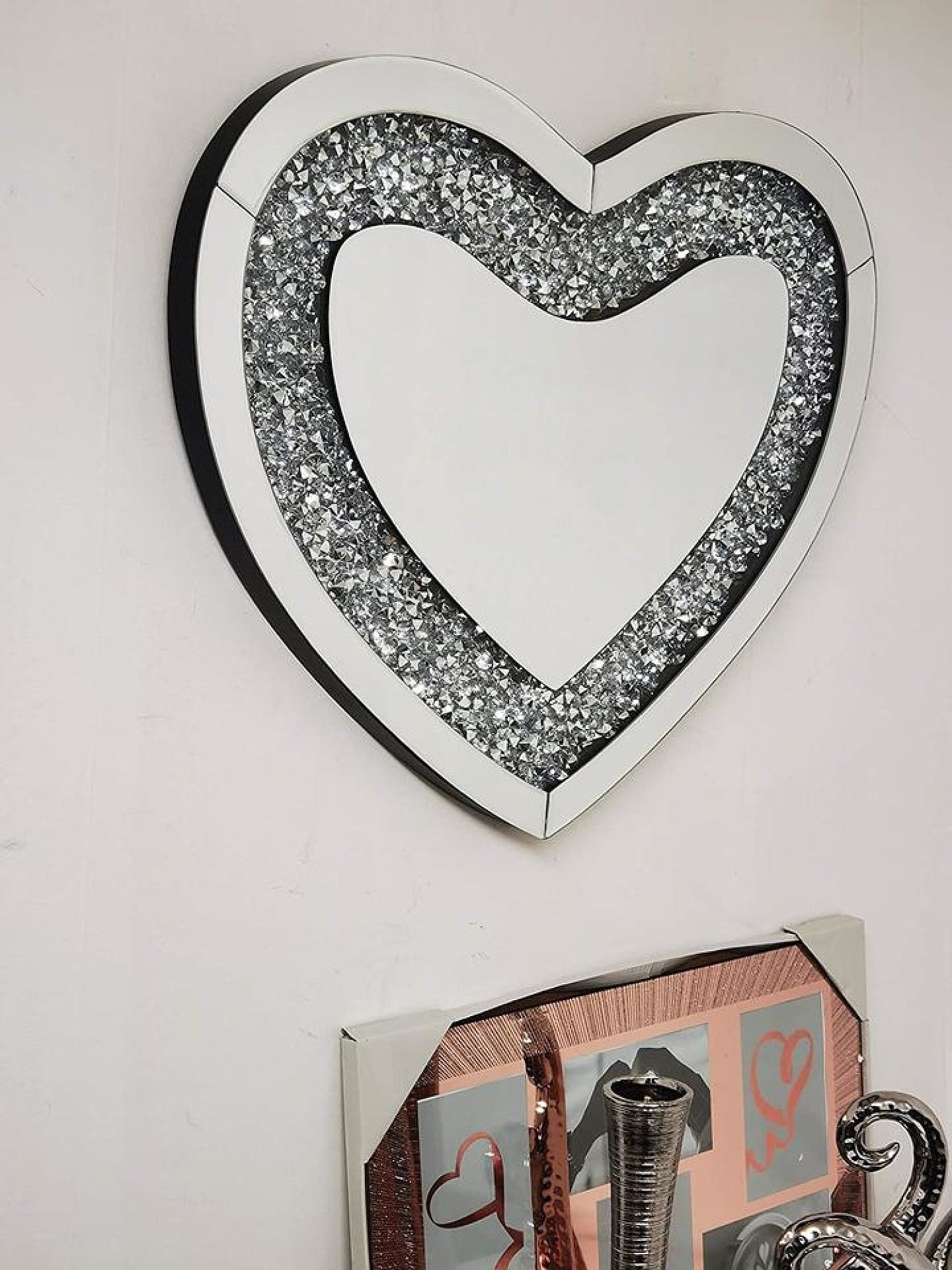 Heart Shape 50x60cm Crushed Diamond Crystal Glass Bevelled Wall Mirror Free Postage