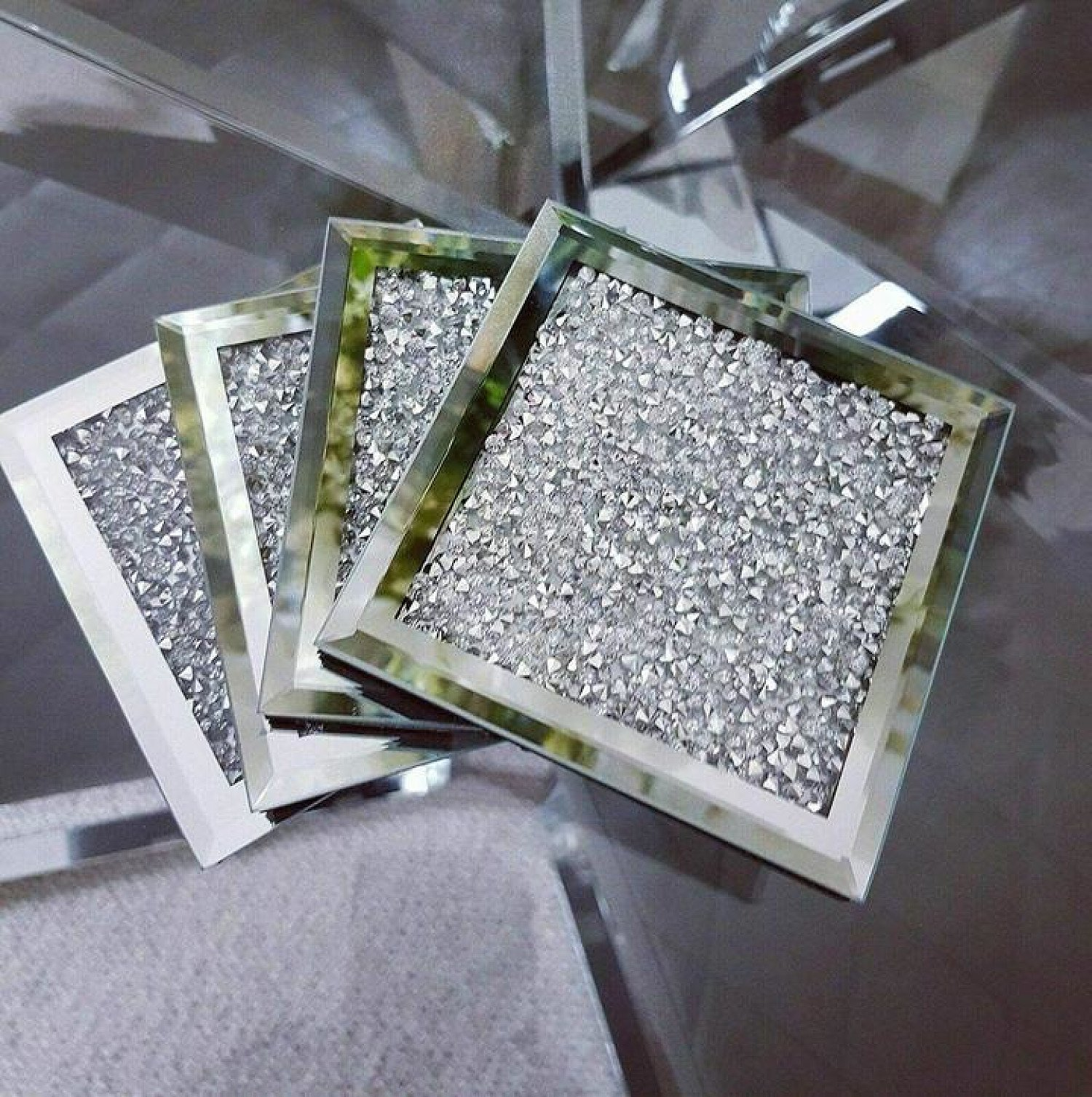 4X Crystal and Mirror Coaster Set of 4 Glitter Crushed Diamante Jewel Free Postage
