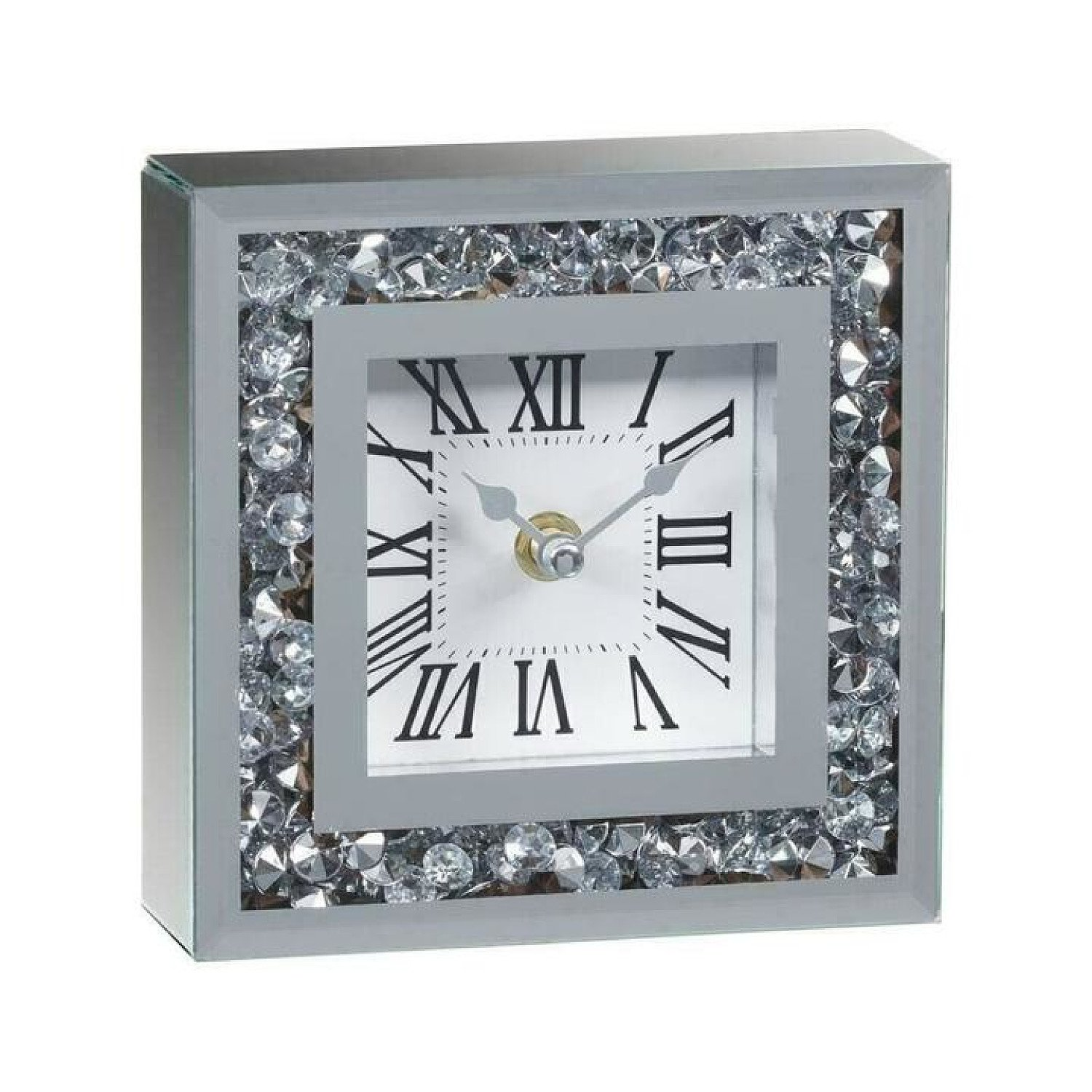 Diamond Mantel Mirrored Crushed Crystal Home Decor Square Table Clock Free Postage