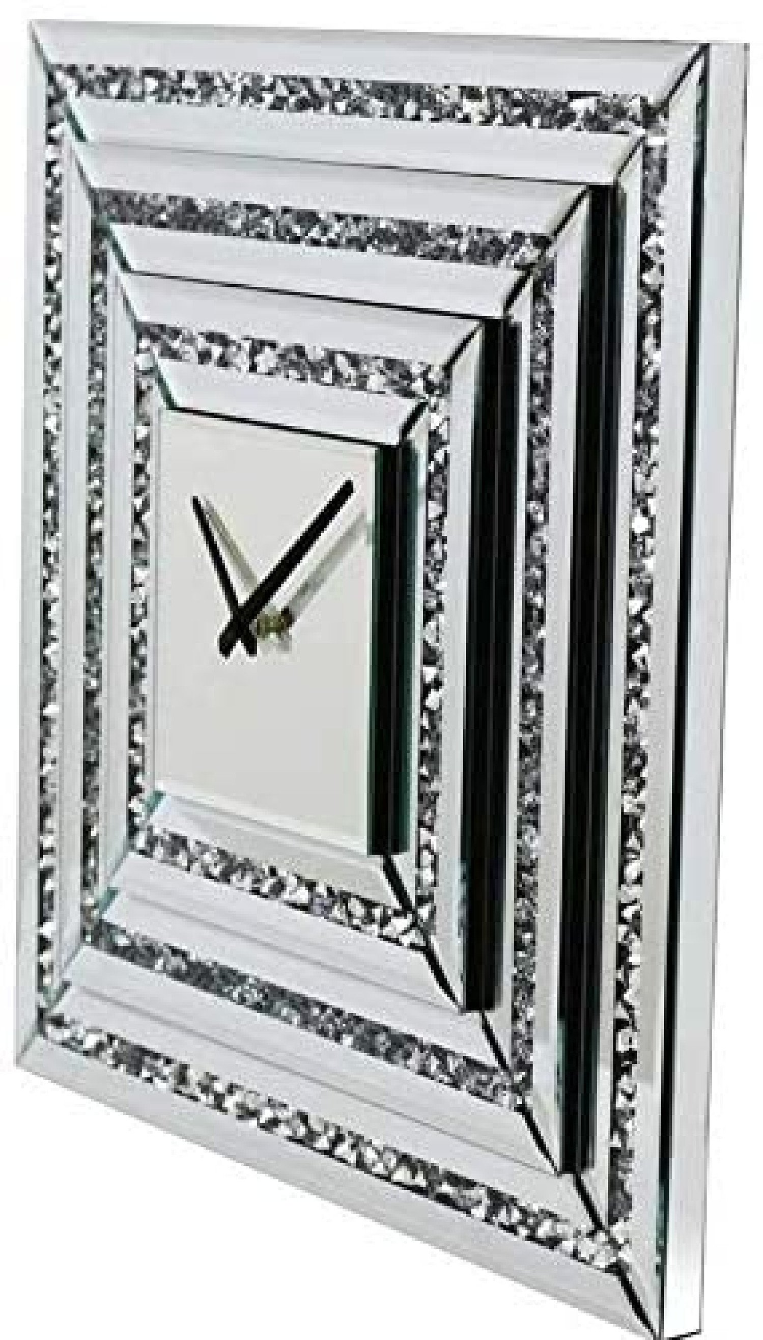 Large Mirrored Glass Silver Crushed Diamond Crystal Wall Clock 50cm x 50cm Free Postage