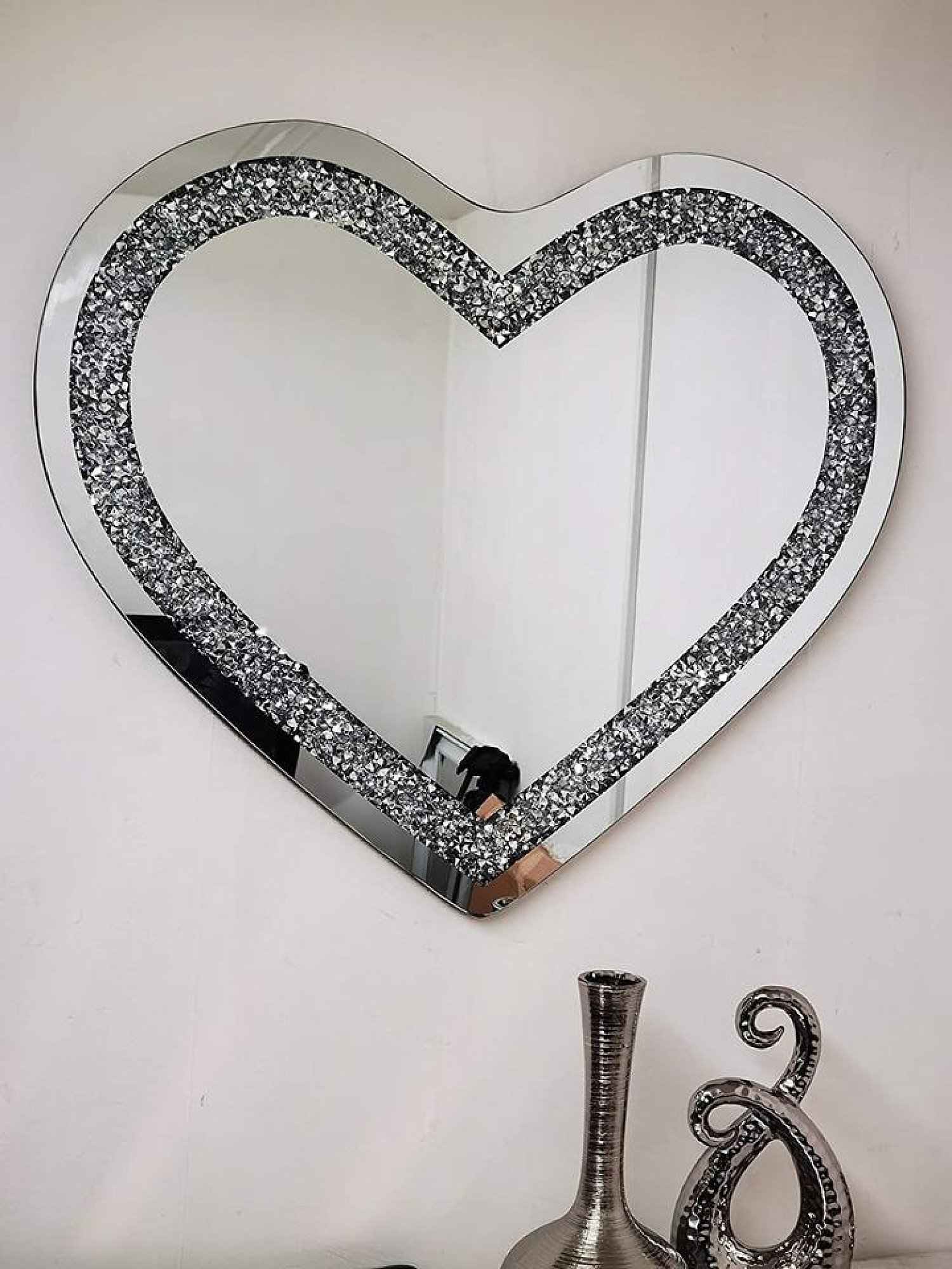Heart Shape 70x80cm Crushed Diamond Crystal Glass Bevelled Wall Mirror Free Postage