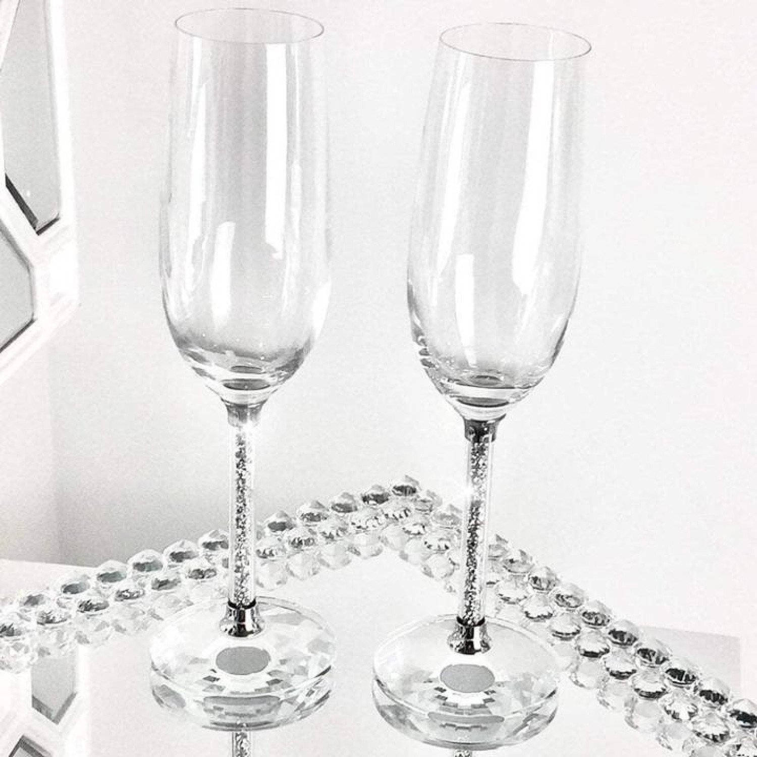 Crushed Diamond Champagne Glasses Pair Set of 2 Crystal Filled Free Postage