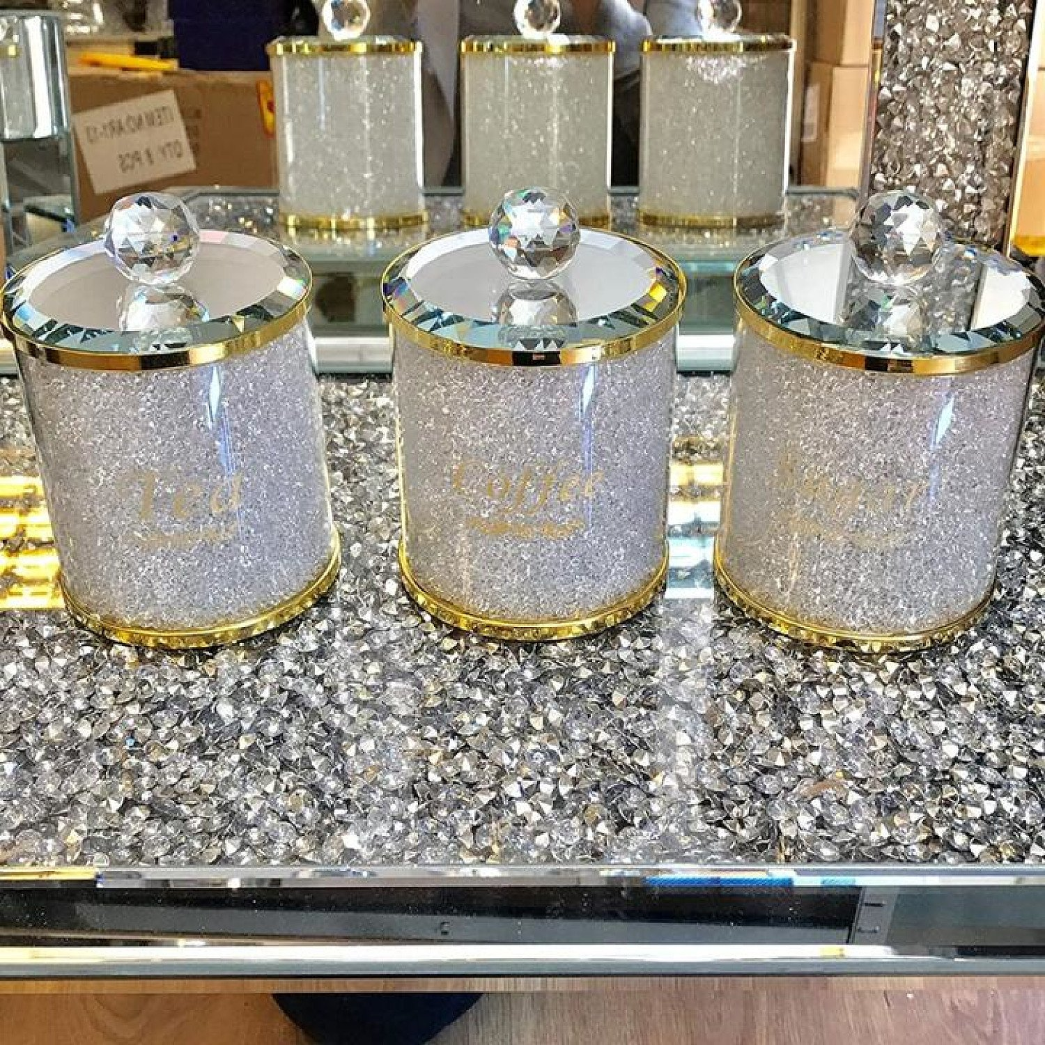 Crushed Diamond Tea Coffee Sugar CANISTERS Gold Crystal Free Postage