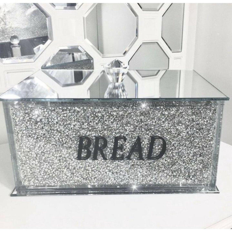 Silver Crushed Diamond Crystal Mirrored Bread Bin Free Postage