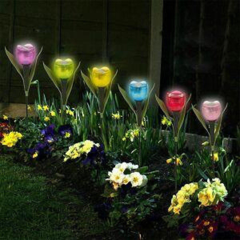 Garden Tulip Flower Shape Solar Powered LED Lights Outdoor Yard Standing Decor Free Postage