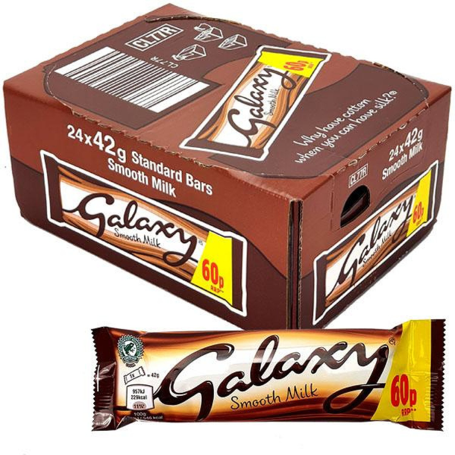 24 X GALAXY SMOOTH MILK 42G STANDARD CHOCOLATE BARS Free Postage