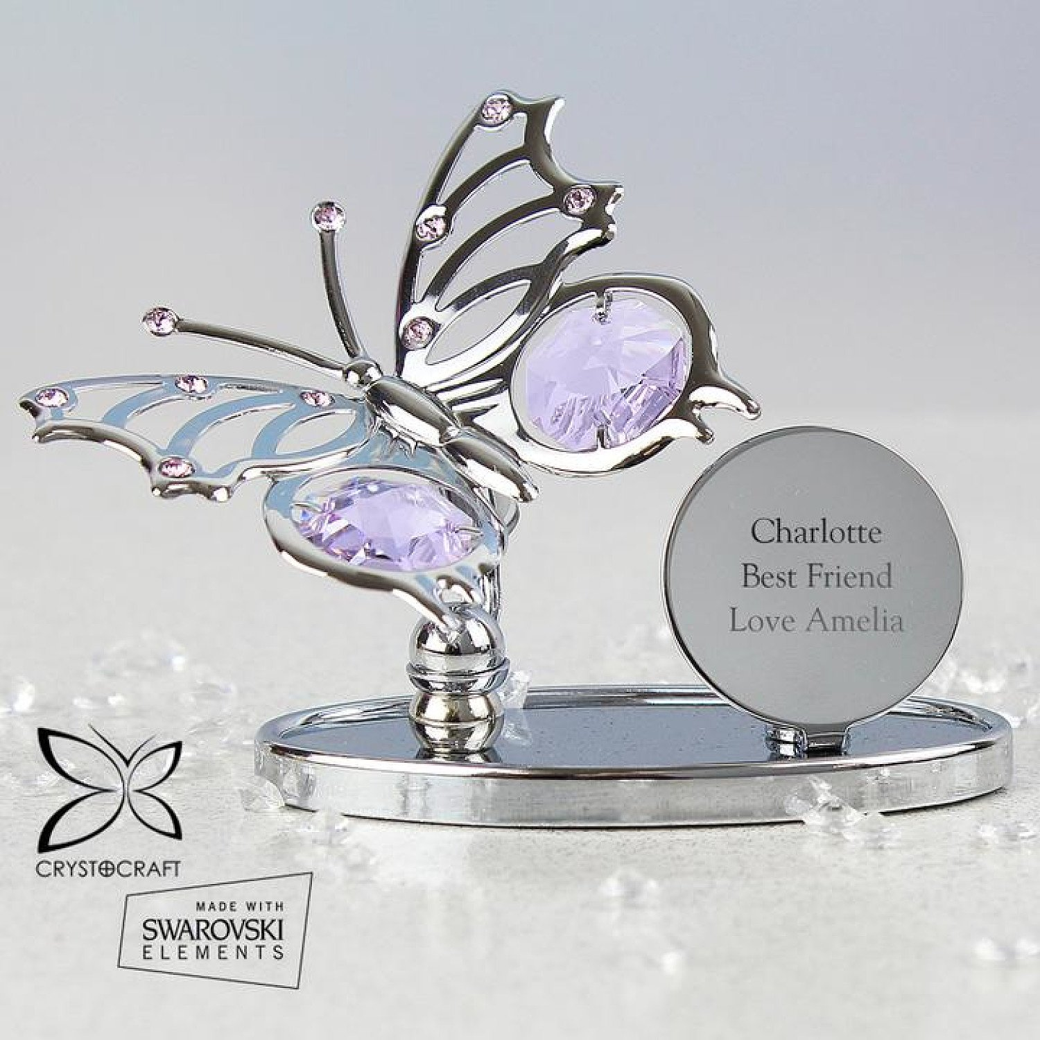 Personalised Crystocraft Butterfly Ornament Free Postage