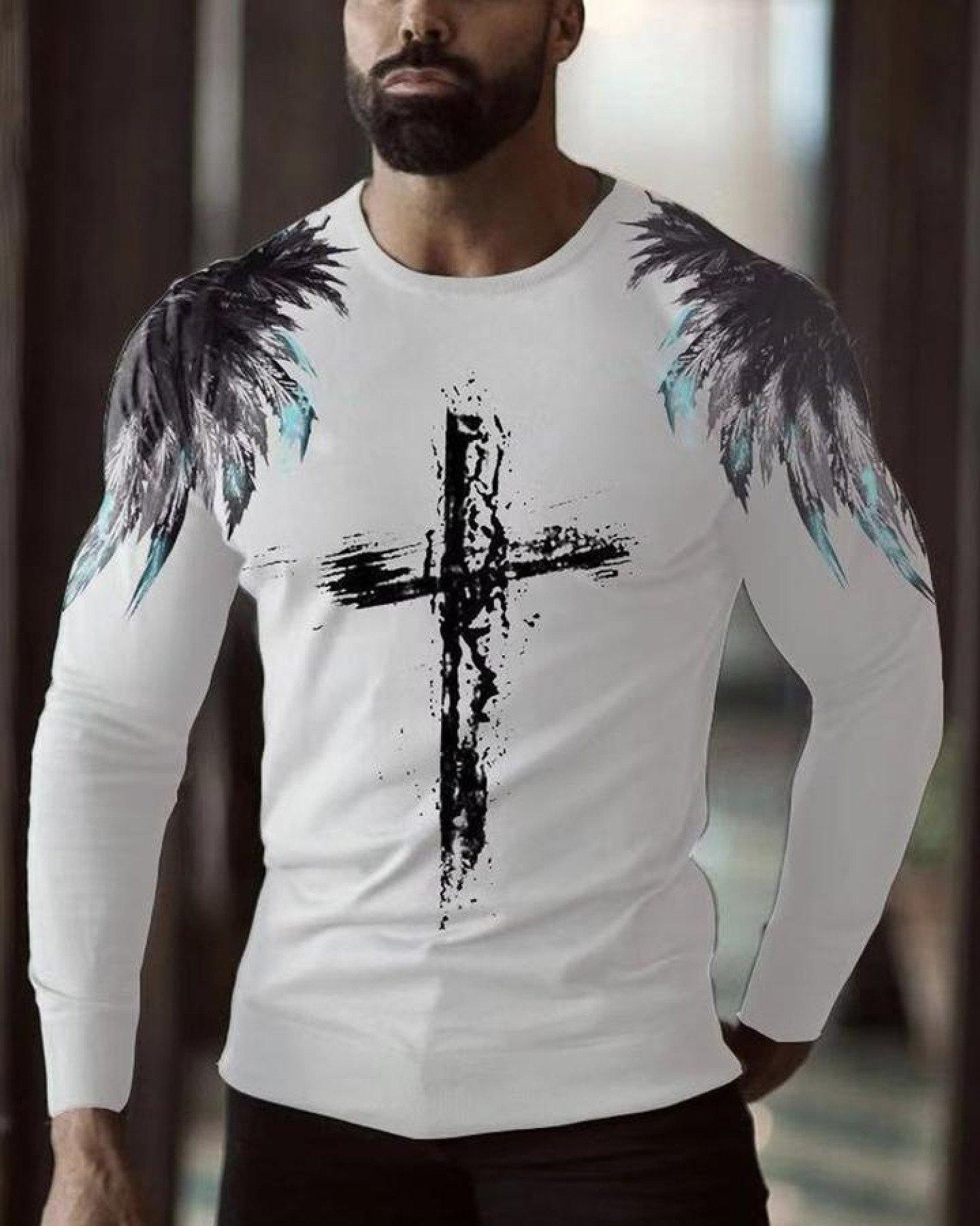 Cross Print Long Sleeve T-shirt-White Men's free Postage