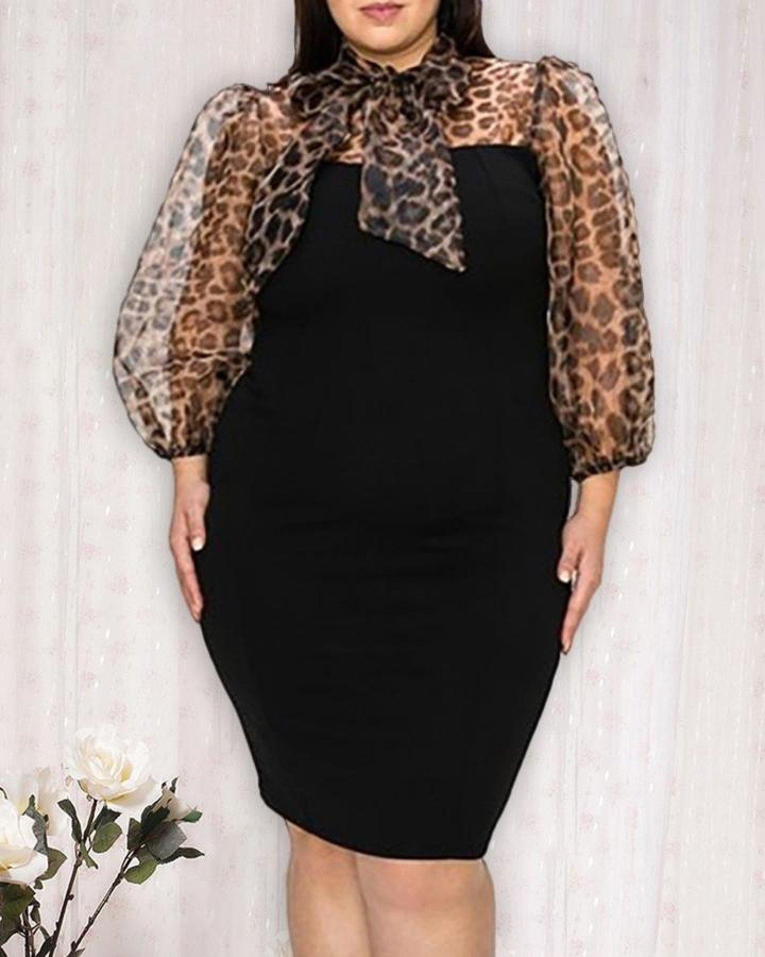 Plus Size Leopard Print Patchwork Bodycon Dress Free Postage