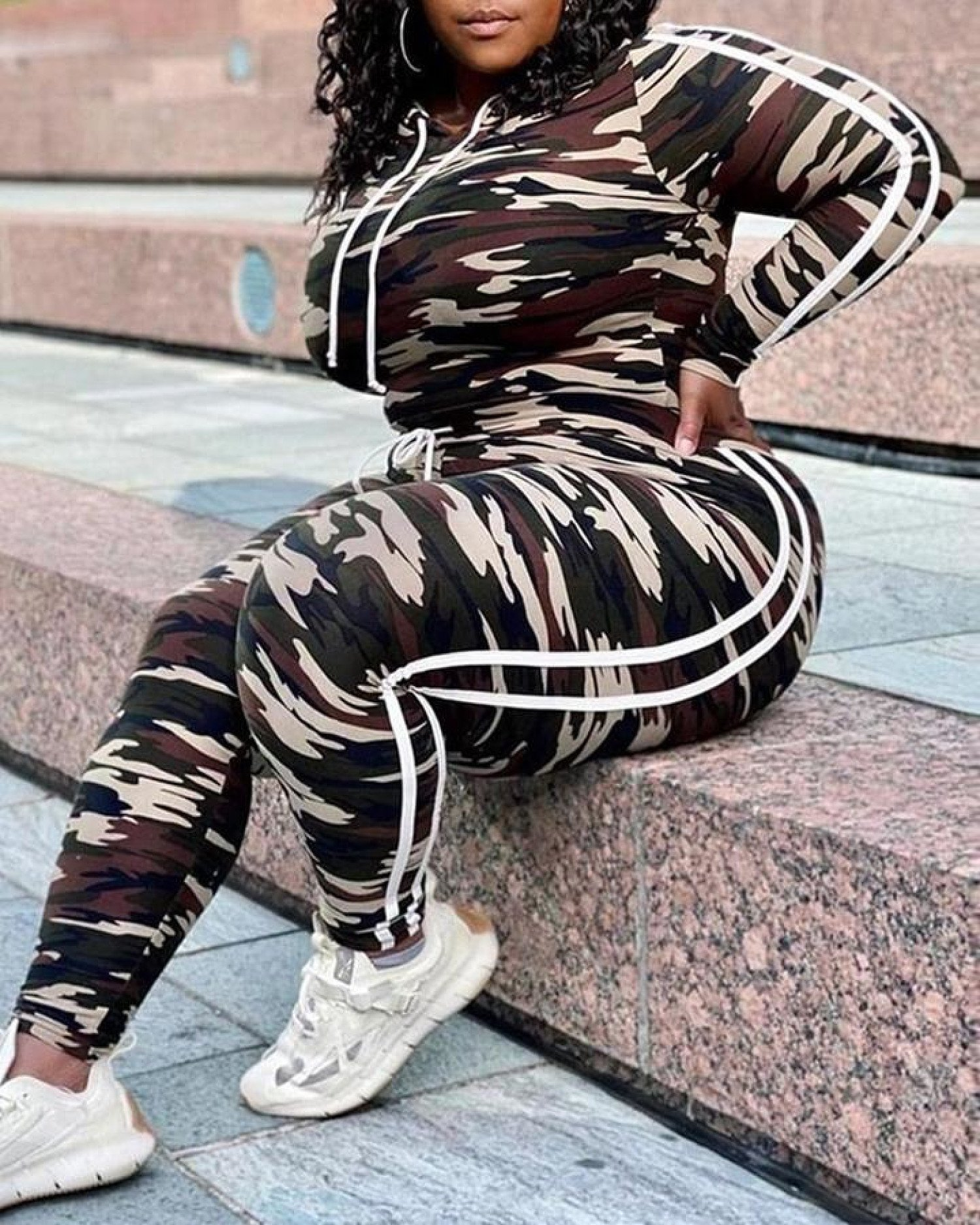 Plus Size Camouflage Print Hooded Top & Drawstring Pants Set Free Postage