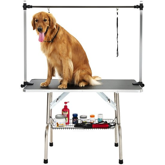 Portable Adjustable Stainless Steel Dog Pet Grooming Table Dresser, Size: 115x55x79cm (Black)
