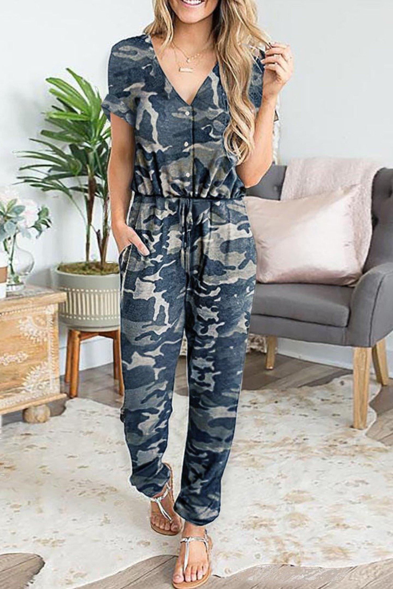 Chic Camo Print Jumpsuit Ladies Free Postage