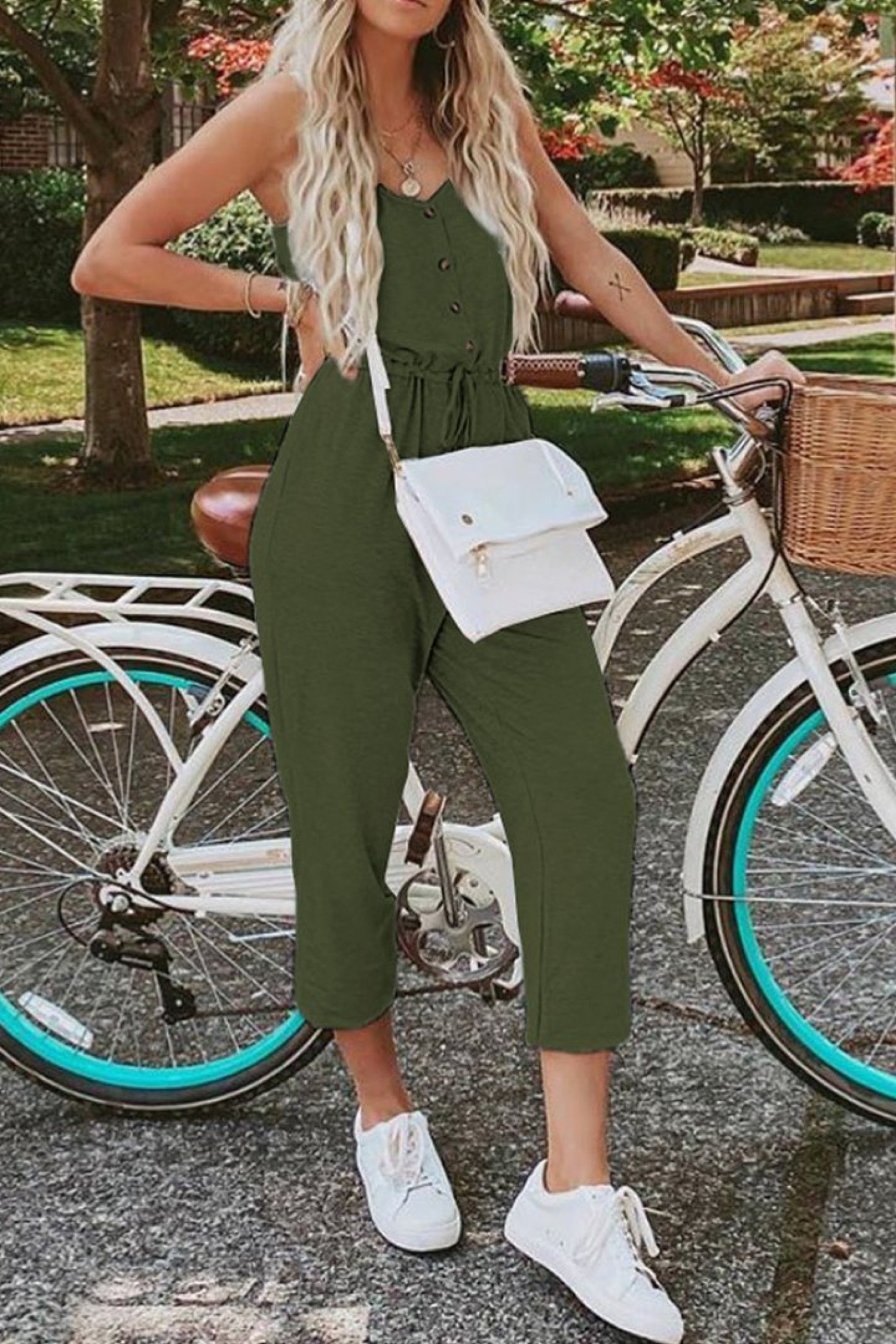 Green Pocketed Knit Jumpsuit Ladies Free Postage